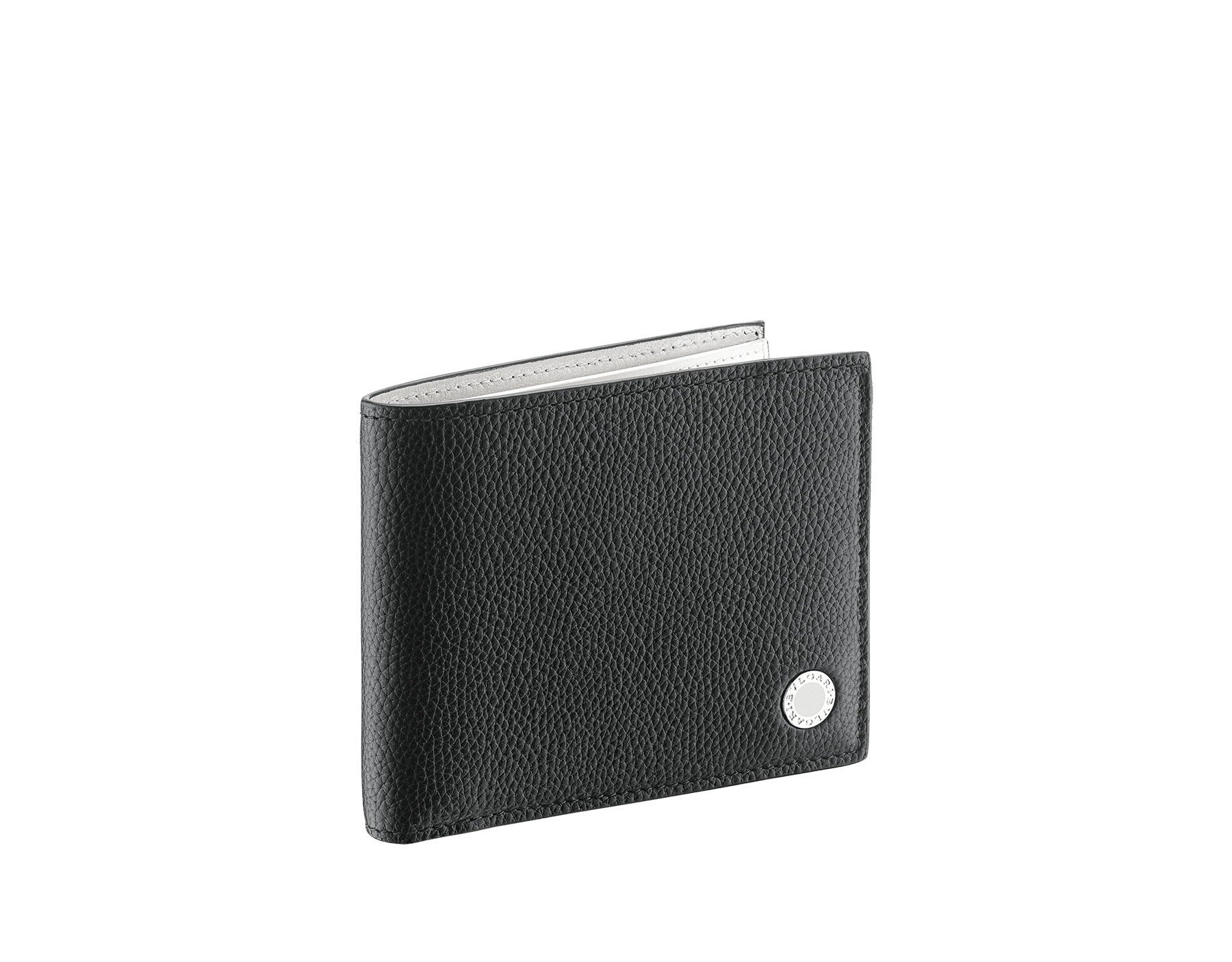 """BVLGARI BVLGARI"" hipster compact wallet in mimetic jade soft full grain calf leather and fire amber calf leather. Iconic logo decoration in palladium plated brass colored in fire amber enamel. BBM-WLT-HIPST-8C-SFGCL image 1"