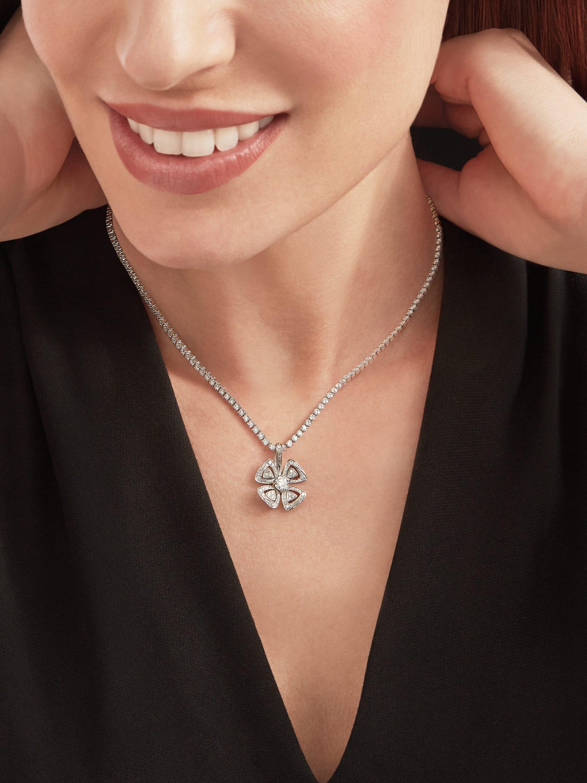 Fiorever 18 kt white gold convertible pendant necklace set with brilliant-cut diamonds (5.55 ct) and pavé diamonds (0.41 ct) 358351 image 5