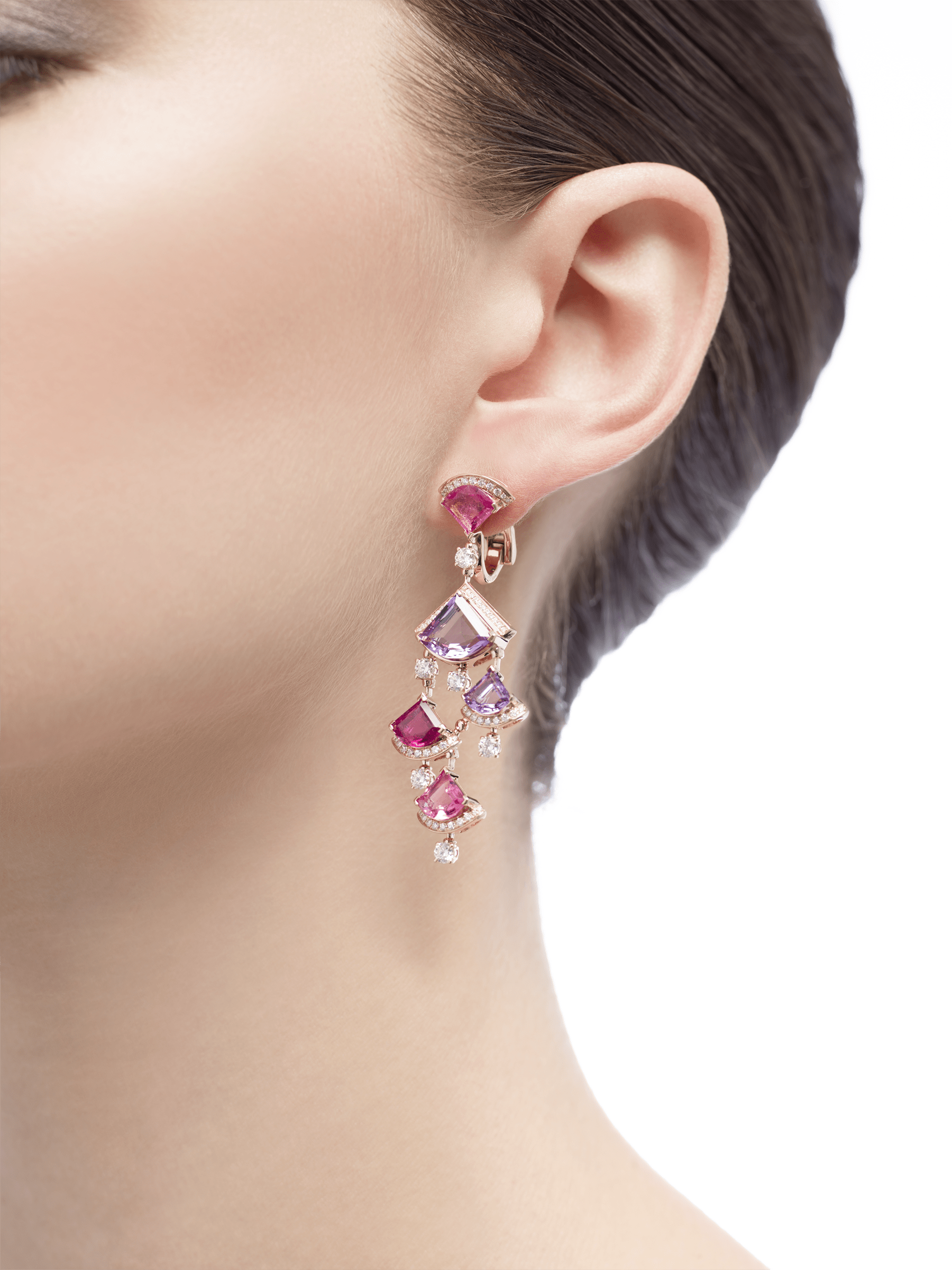 DIVAS' DREAM earrings in 18 kt rose gold, set with pink rubellite, amethyst and pavé diamonds. 354078 image 4