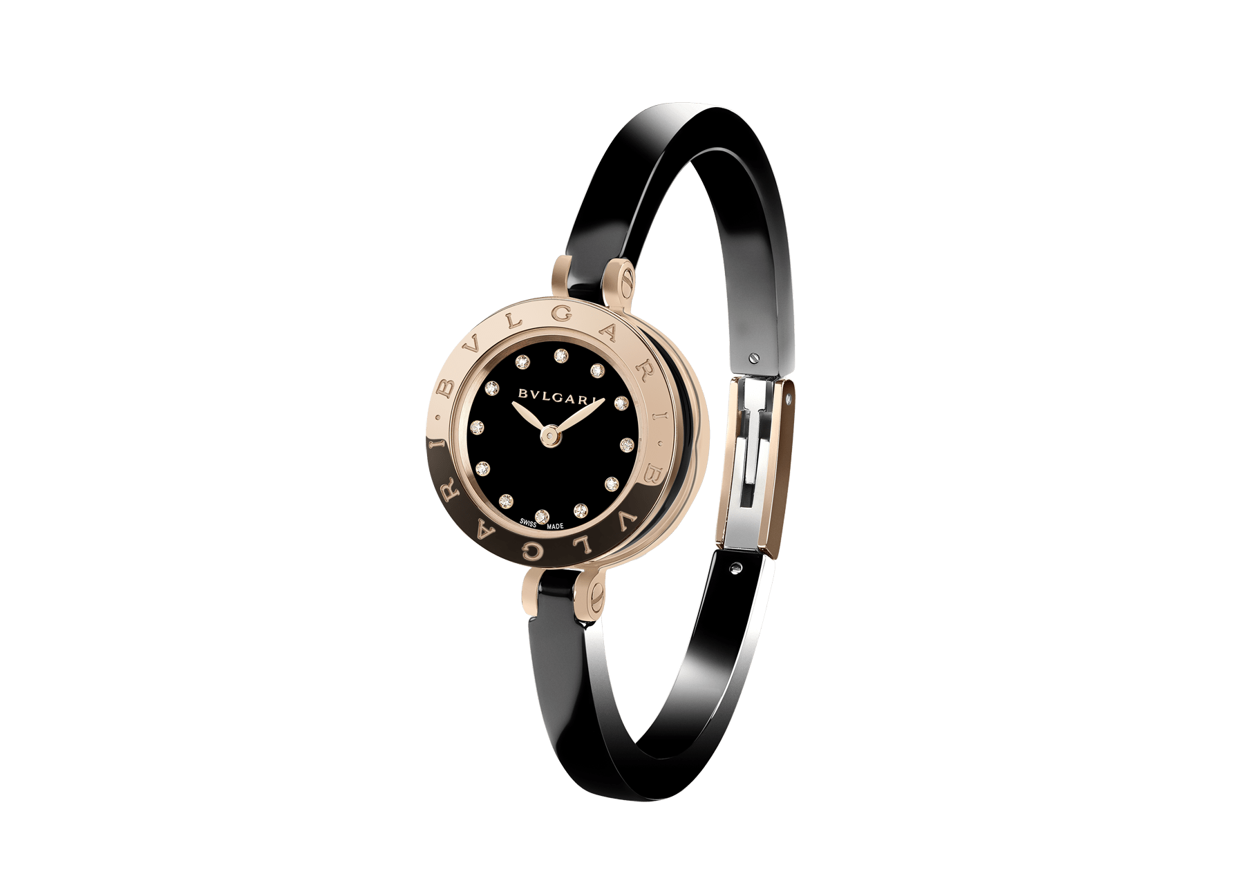 B.zero1 watch with 18 kt rose gold and black ceramic case, black lacquered dial set with diamond indexes, black ceramic bangle and 18 kt rose gold clasp. 102175 image 1