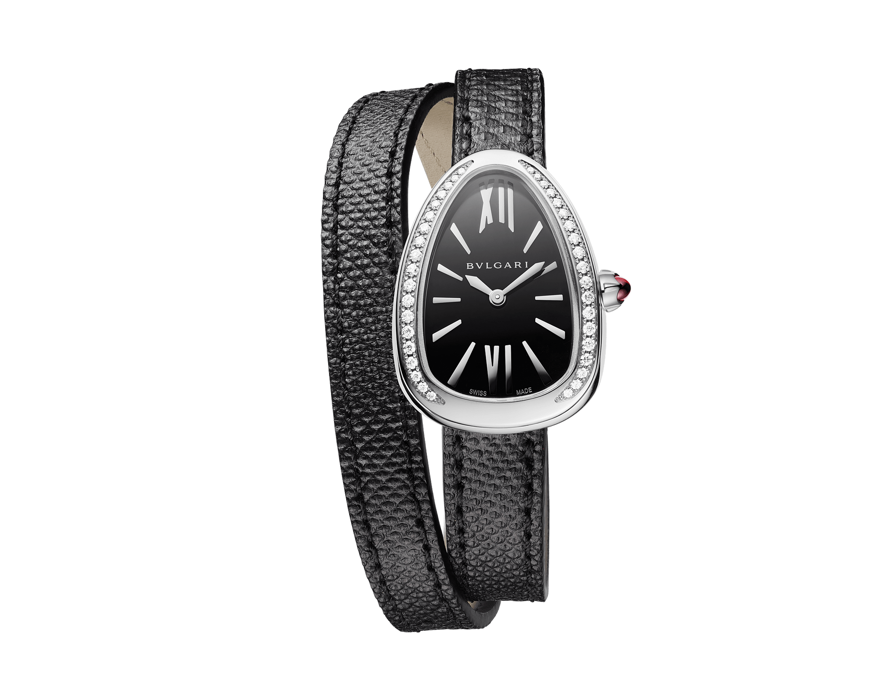 Serpenti watch with stainless steel case set with round brilliant-cut diamonds, black lacquered dial and interchangeable double spiral bracelet in black karung leather 102921 image 1