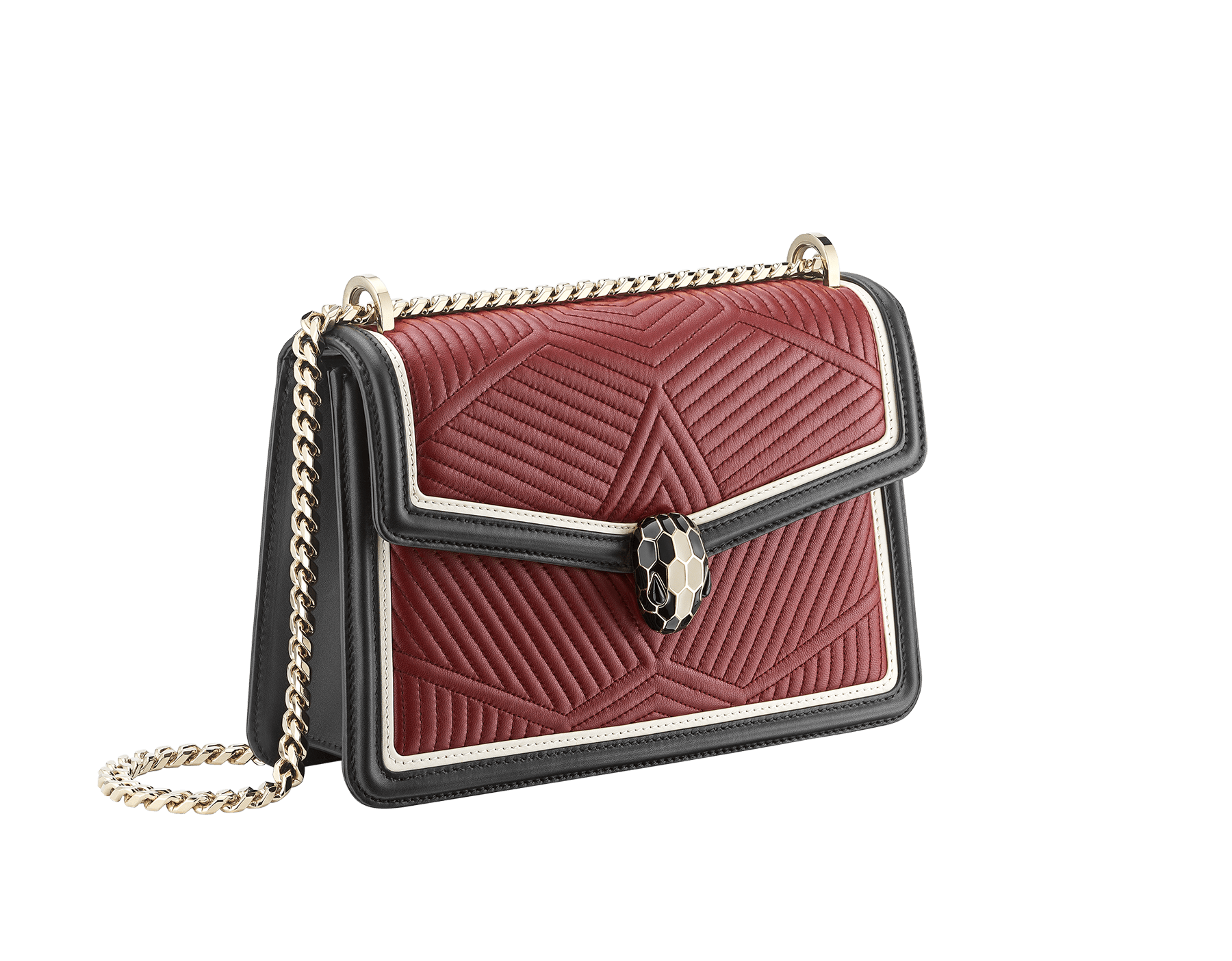 Shoulder bag Serpenti Forever featuring a Framed Quilted motif in roman garnet nappa and black smooth calf leather. Brass light gold plated tempting snake head closure in black and white enamel, with eyes in black onyx. 286628 image 3