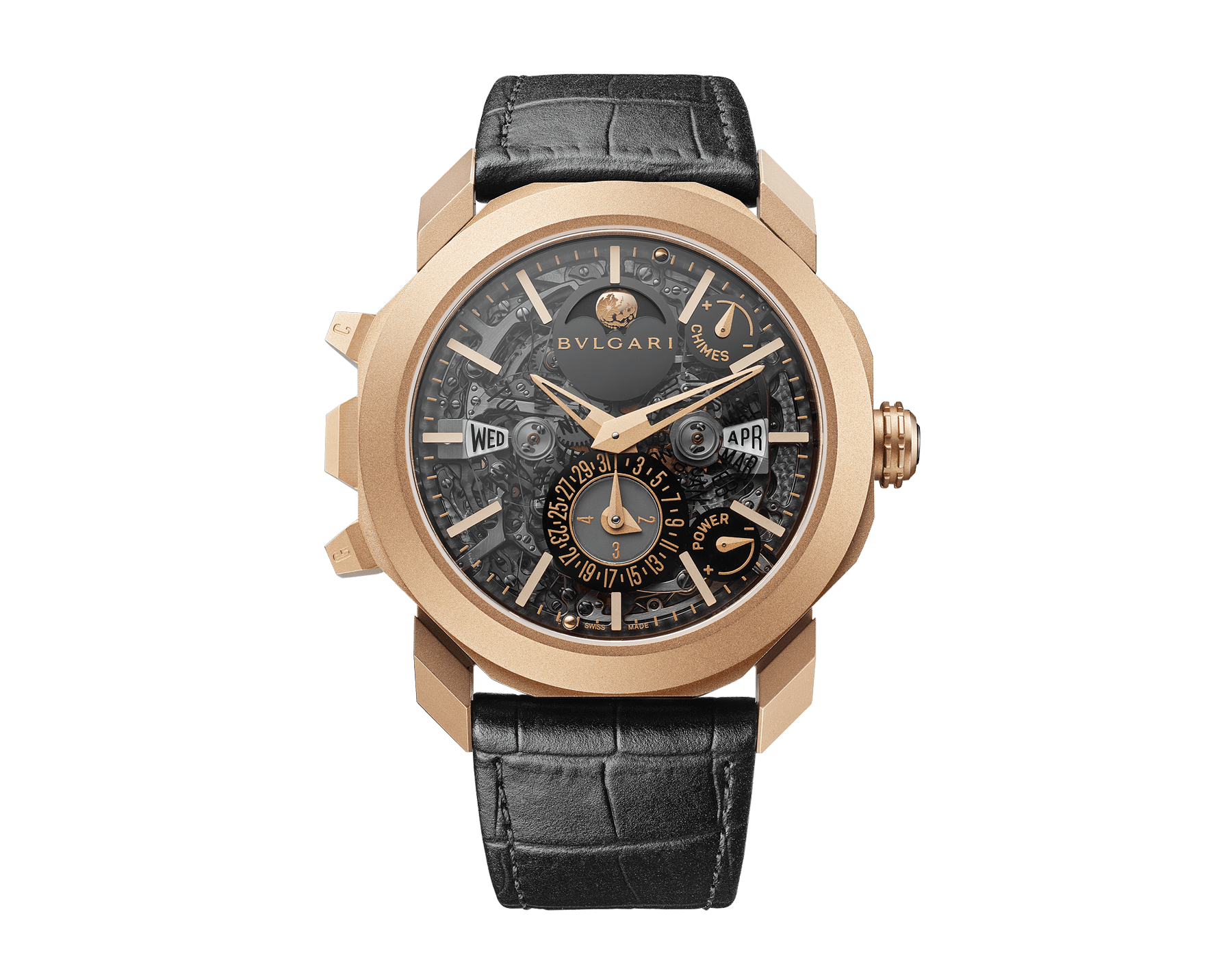 Octo Grande Sonnerie watch with mechanical manufacture movement, Grande and Petite Sonnerie, minute repeater, tourbillon, perpetual calendar, moonphases, movement and chime power reserve indicator, 18 kt rose gold sandblasted case, skeletonized dial and black alligator bracelet 102891 image 1