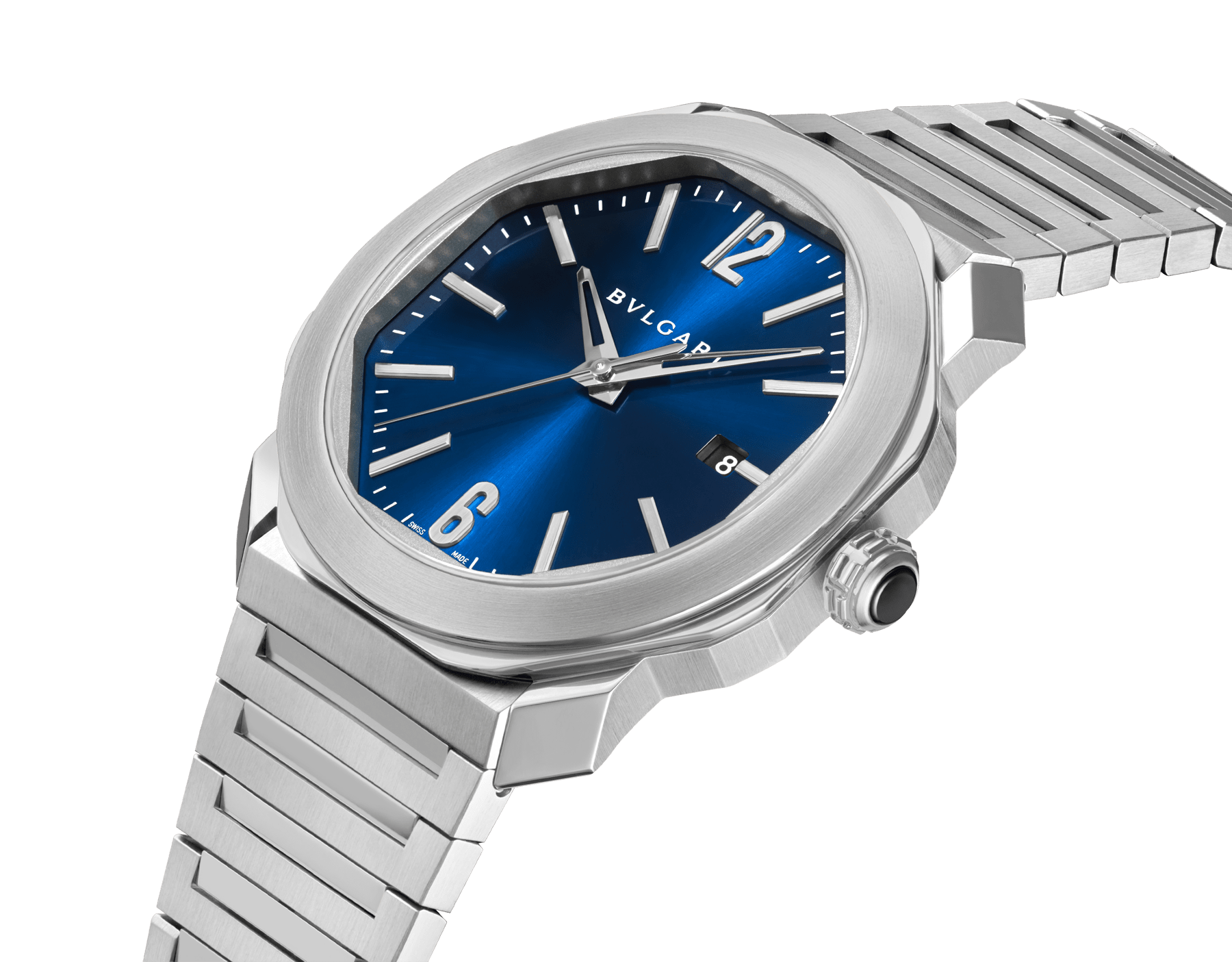 Octo Roma watch with mechanical manufacture movement, automatic winding, stainless steel case and bracelet, blue dial. 102856 image 2