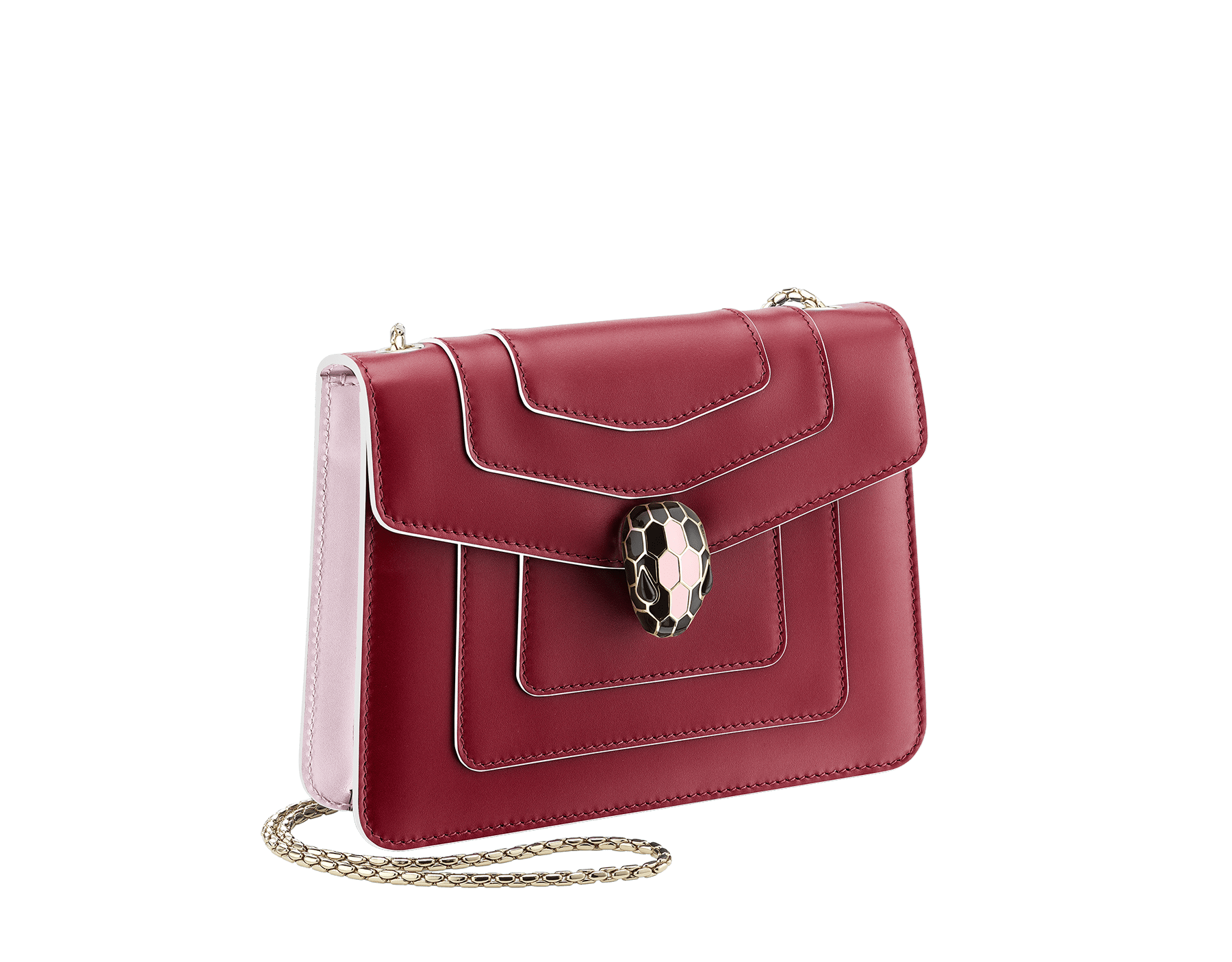 Serpenti Forever crossbody bag in Roman garnet calf leather, with rosa di francia calf leather sides. Iconic snakehead closure in light gold plated brass embellished with black and white enamel and green malachite eyes. 289035 image 4