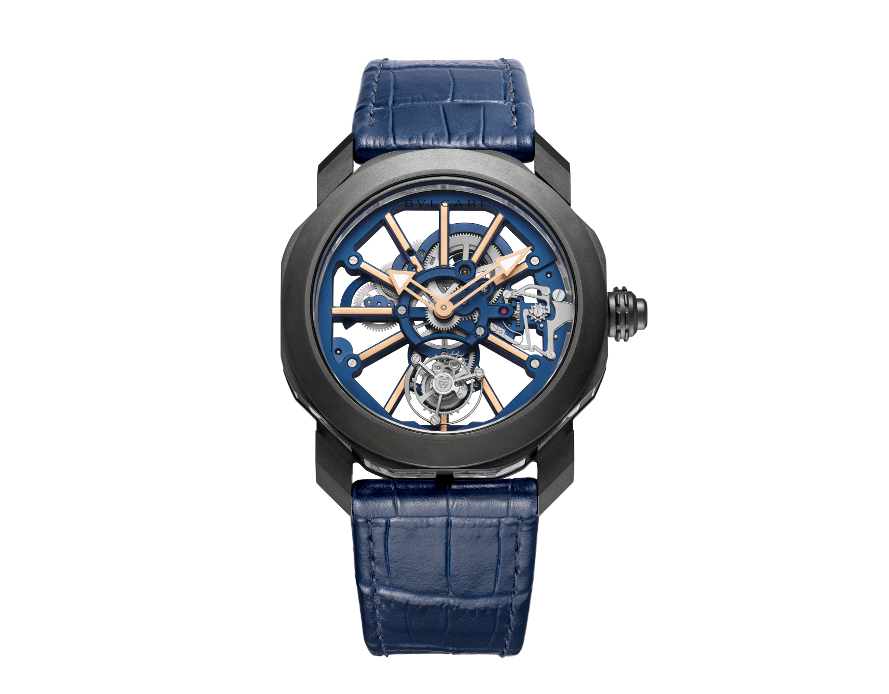 Octo Roma Tourbillon Sapphire watch with mechanical manufacture movement, flying tourbillon, manual winding, titanium case with black Diamond Like Carbon treatment, sapphire middle case, blue PVD calibre decorated with 18 kt rose gold indexes on the bridges and blue alligator bracelet 103154 image 1