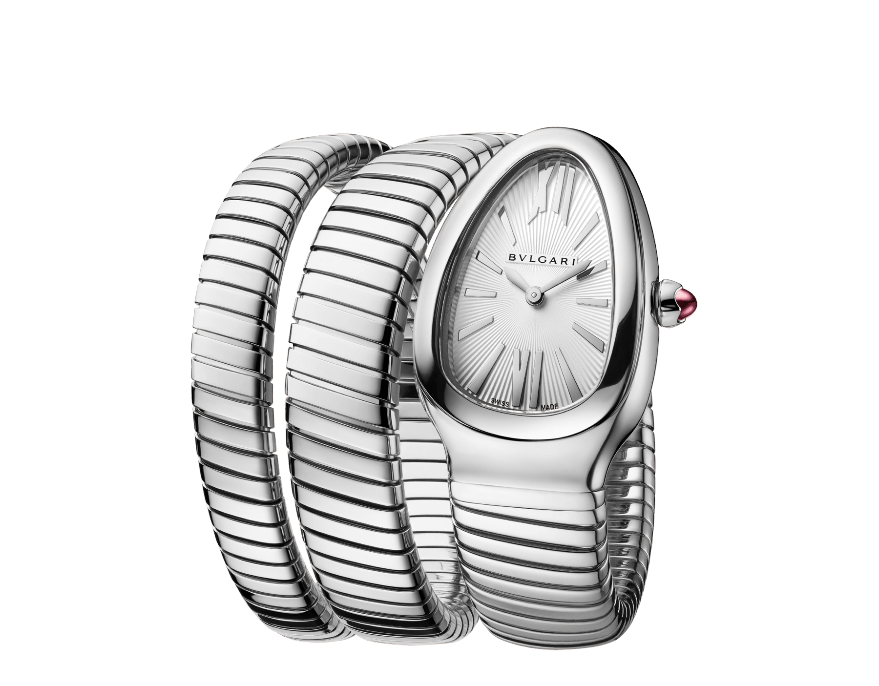 Serpenti Tubogas double spiral watch in stainless steel case and bracelet, with silver opaline dial. 101911 image 2