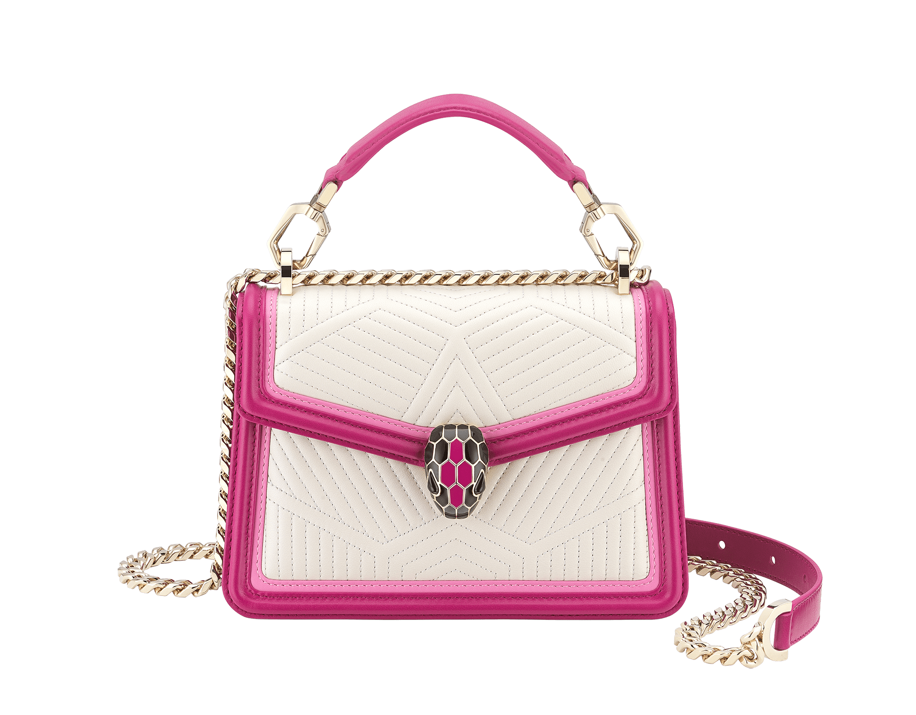 """Serpenti Diamond Blast"" top handle bag in white agate quilted nappa leather and berry tourmaline smooth calf leather frames. Iconic snakehead closure in light gold-plated brass enhanced with matte black and shiny berry tourmaline enamel and black onyx eyes. 289943 image 1"