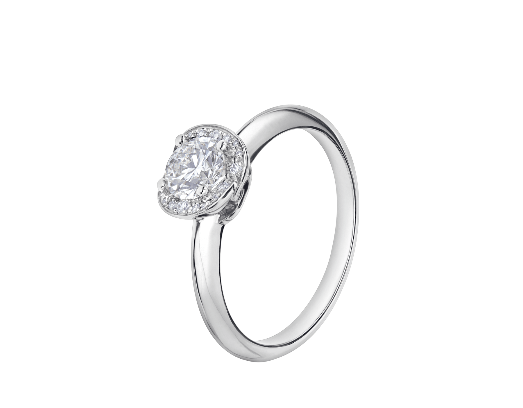 Incontro d'Amore platinum ring set with a round brilliant-cut diamond and a halo of pavé diamonds. 355398 image 1
