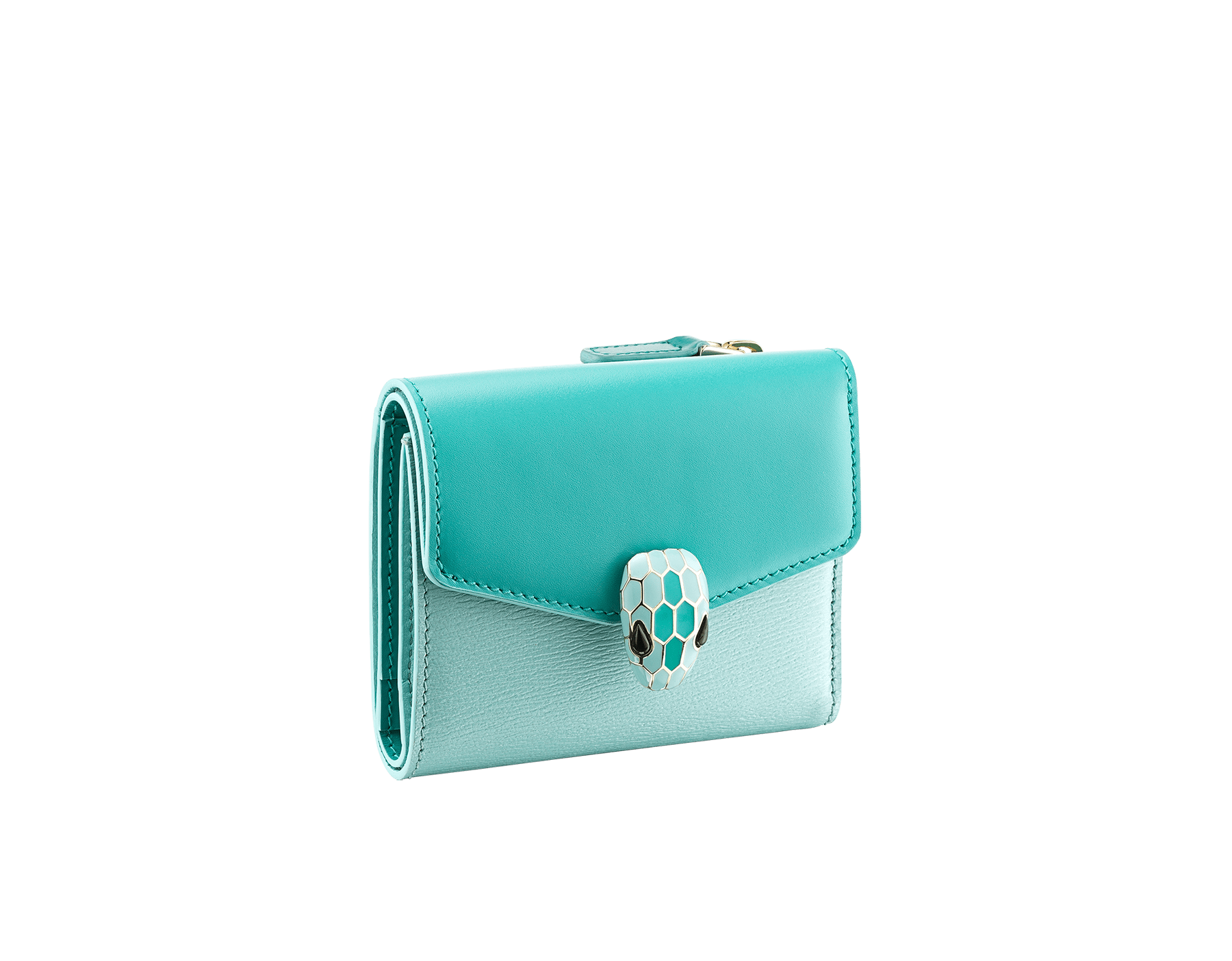 Serpenti Forever compact wallet in arctic jade calf leather and glacier turquoise goatskin. Iconic light gold plated brass snakehead stud closure in glacier turquoise and arctic jade enamel, with black onyx eyes. SEA-SLIMCOMPACT-CLb image 1