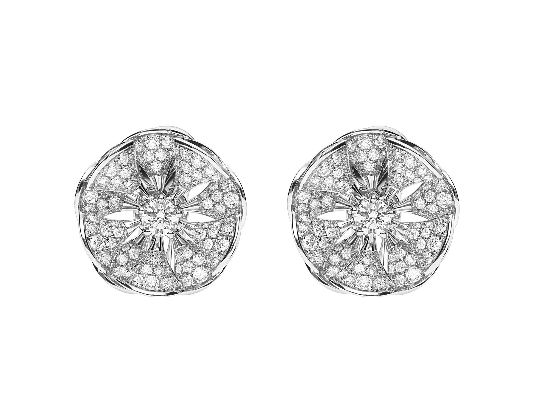 DIVAS' DREAM earrings in 18 kt white gold set with a central diamond and full pavé diamonds. 350785 image 1