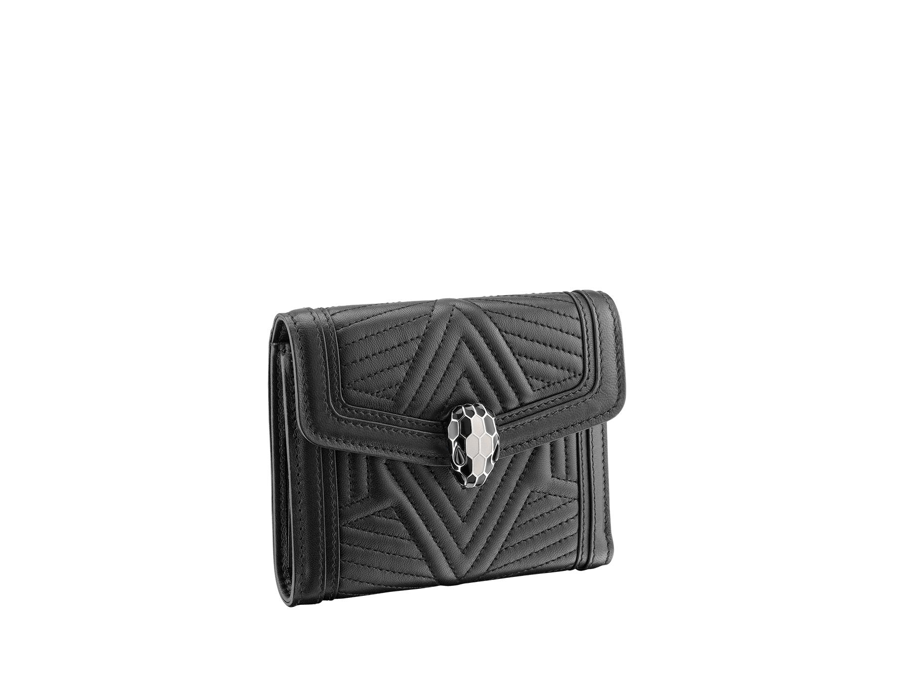 Serpenti Diamond Blast compact wallet in black quilted nappa leather. Iconic snakehead stud closure in black and white enamel, with black onyx eyes. 287596 image 1