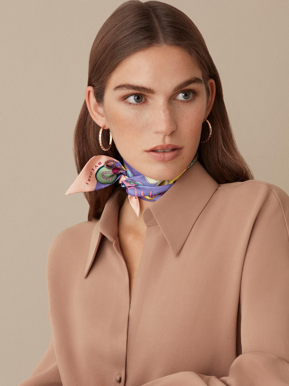 """Lavender Amethyst lilac """"Roman flowers"""" Shelley scarf in fine silk twill. 244570 image 2"""