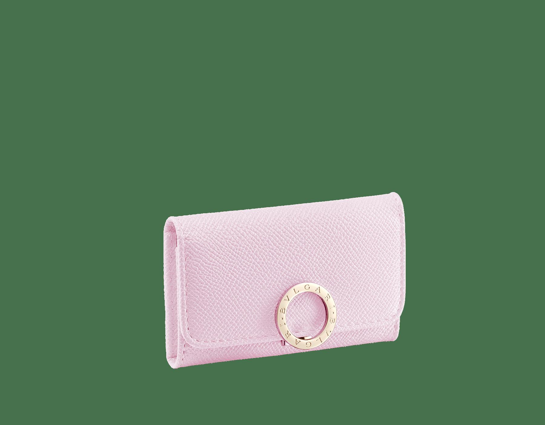 BVLGARI BVLGARI small keyholder in rosa di francia grain calf leather and flamingo quartz nappa leather. Iconic logo clip closure in light gold plated brass. 289032 image 1