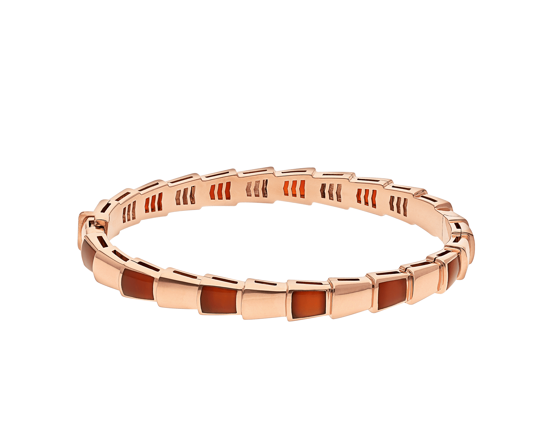 Serpenti Viper 18 kt rose gold bracelet set with carnelian elements. (height 6 mm) BR858338 image 2