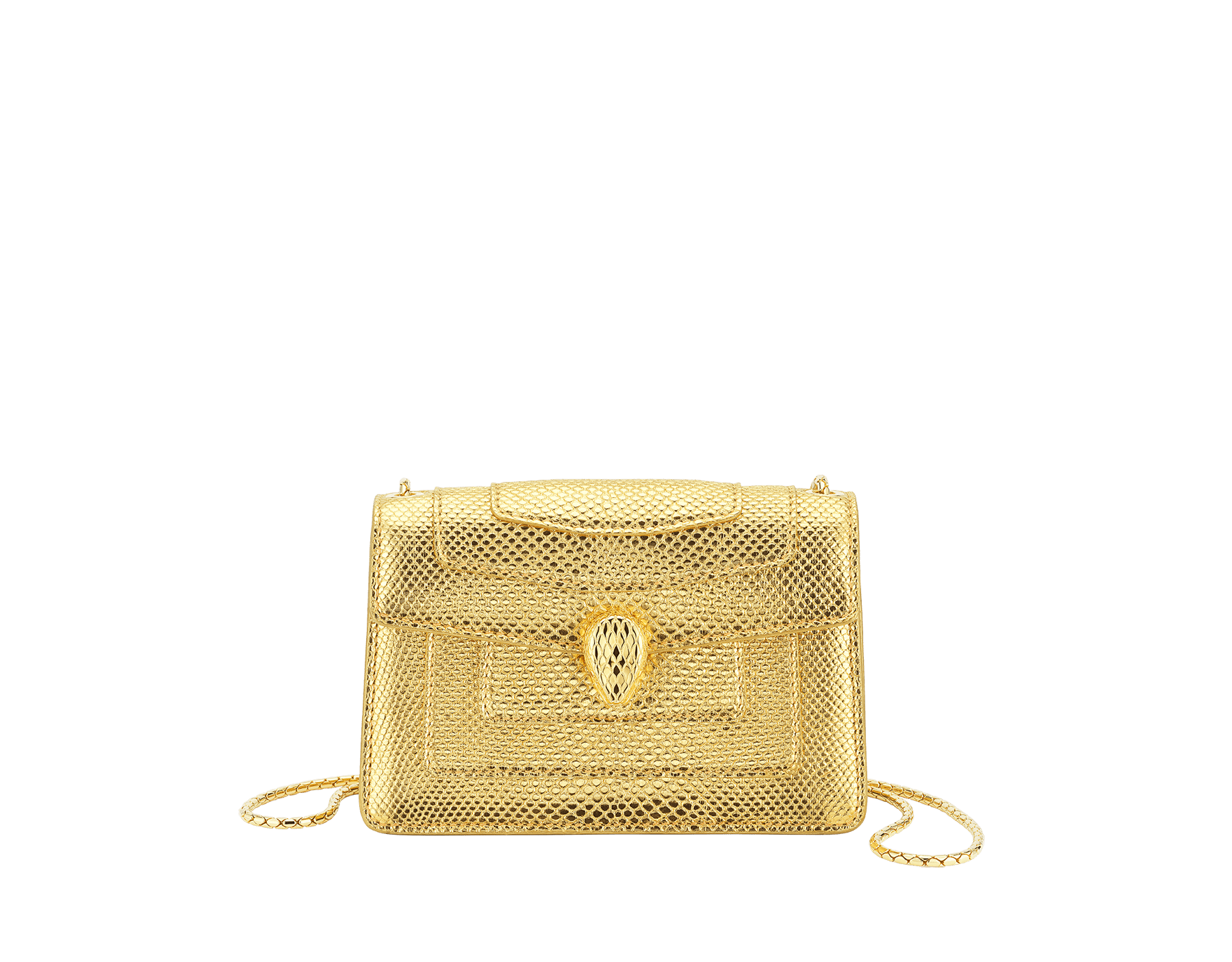 """Serpenti Forever"" mini crossbody bag in ""Molten"" gold karung skin with black nappa leather inner lining, offering a touch of radiance for the Winter Holidays. New Serpenti head closure in gold-plated brass, complete with ruby-red enamel eyes. 986-MolK image 1"
