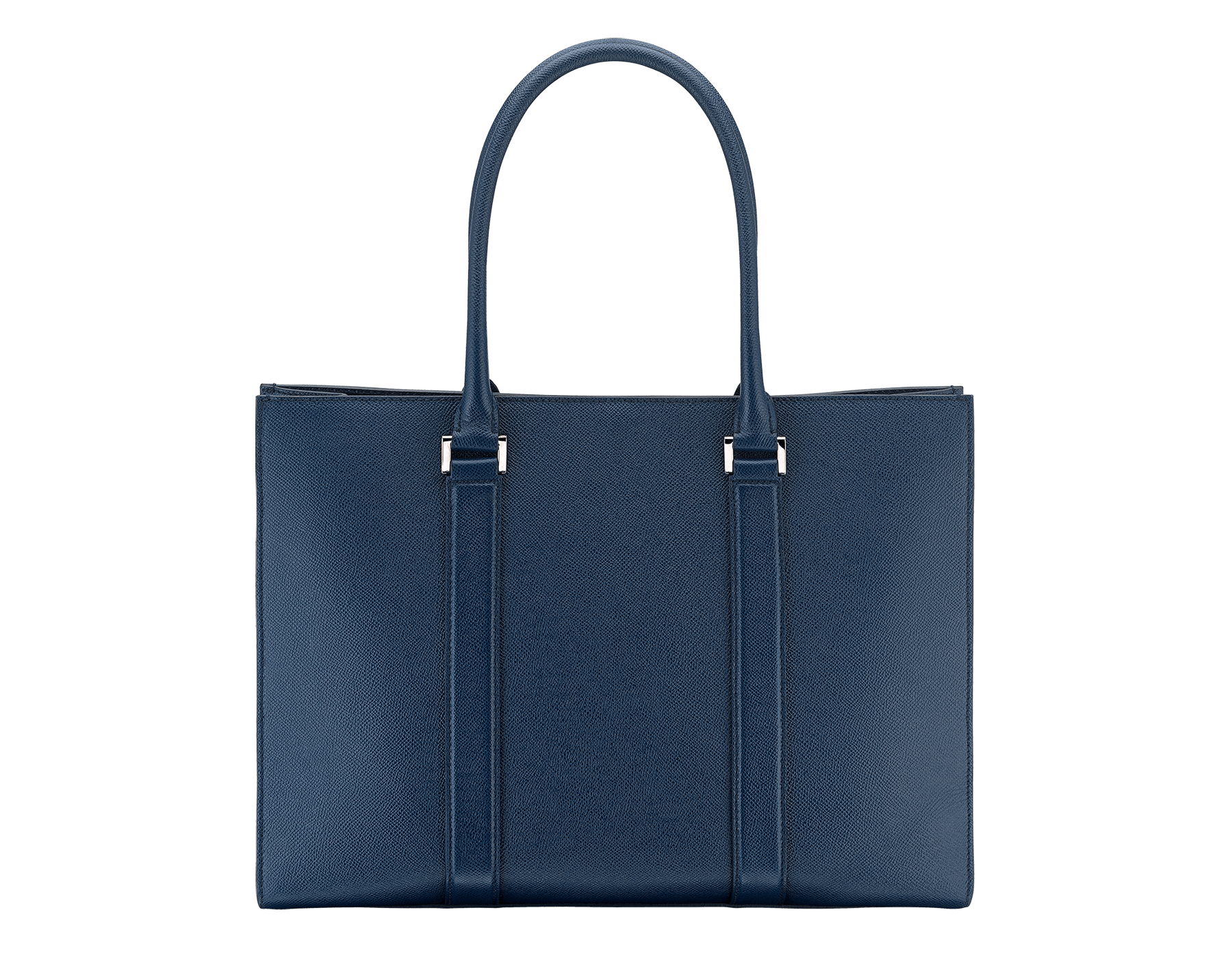 Tote bag in denim sapphire grain calf leather with brass palladium plated hardware. One zipped pocket, three open pockets and Bulgari logo metal tag inside. 39391 image 3