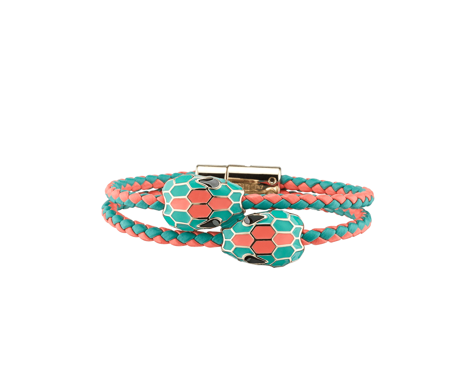 Serpenti Forever double braid bracelet in silky coral and arctic jade woven calf leather with a double snakehead décor in arctic jade and silky coral enamel. NewDoubleBraid-WCL-SCAJ image 1