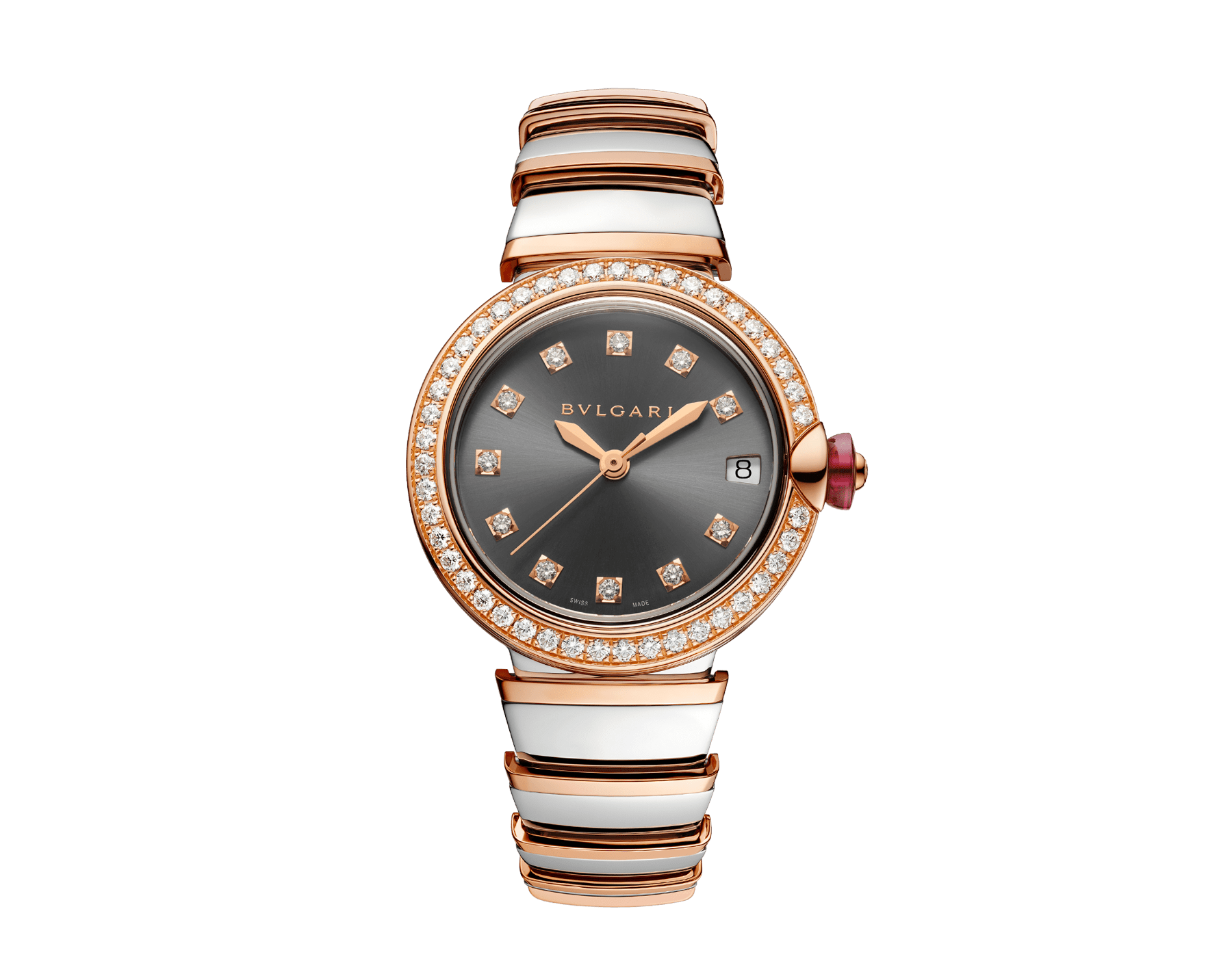 LVCEA watch with stainless steel case, 18 kt rose gold bezel set with diamonds, grey lacquered dial, diamond indexes, stainless steel and 18 kt rose gold bracelet 103029 image 1