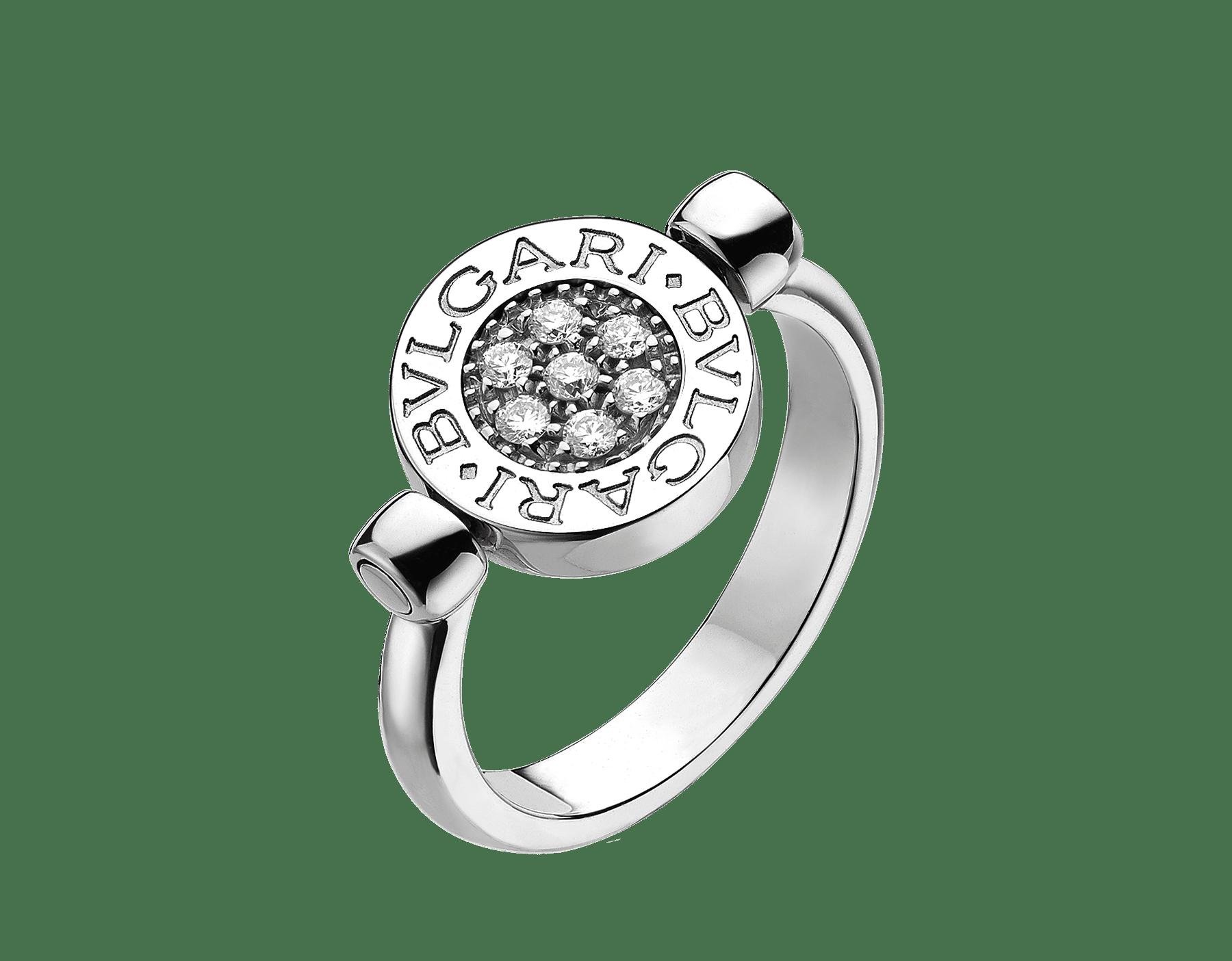 BVLGARI BVLGARI 18 kt white gold flip ring set with black onyx and pavé diamonds AN850723 image 1