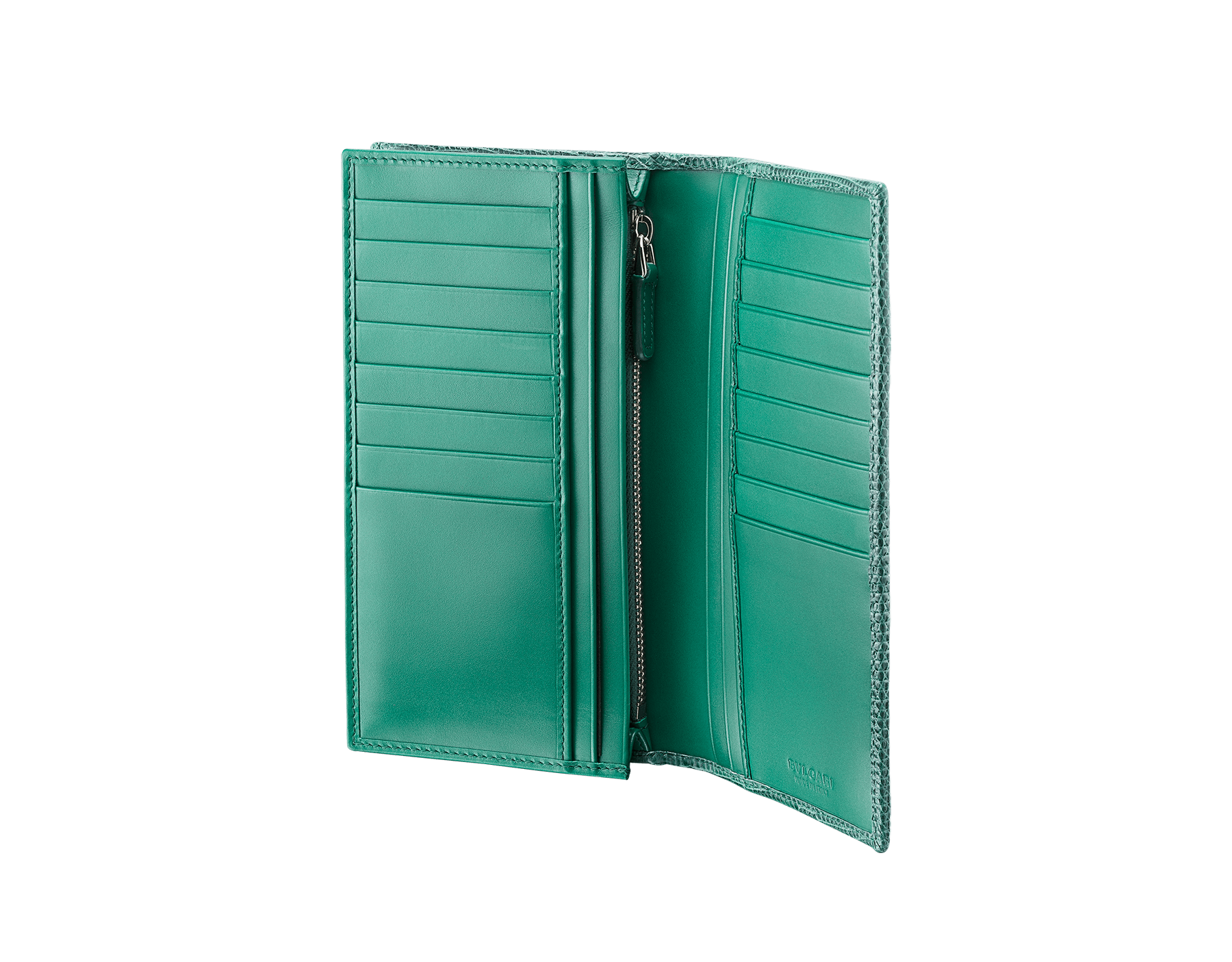 BVLGARI BVLGARI wallet for men in forest emerald shiny lizard skin and black nappa lining. Iconic logo décor in palladium plated brass. 289422 image 2