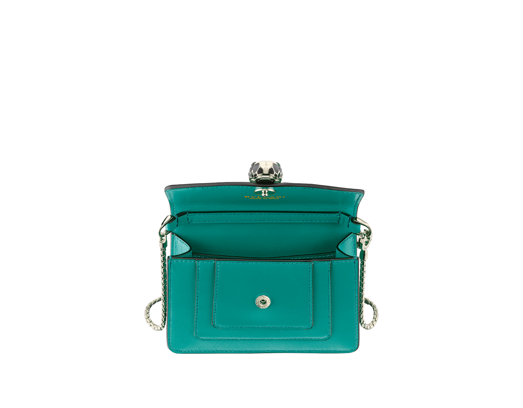 Bag charm Serpenti Forever miniature in tropical tourquoise calf leather, with deep jade calf leather lining. Iconic brass light gold plated snakehead stud closure enameled in black and white and finished with green enamel eyes. 288371 image 2