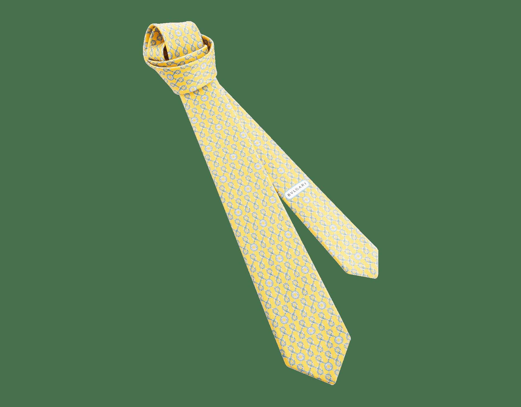 Yellow Sailor Logo pattern seven-fold tie in fine saglione printed silk. 244201 image 1