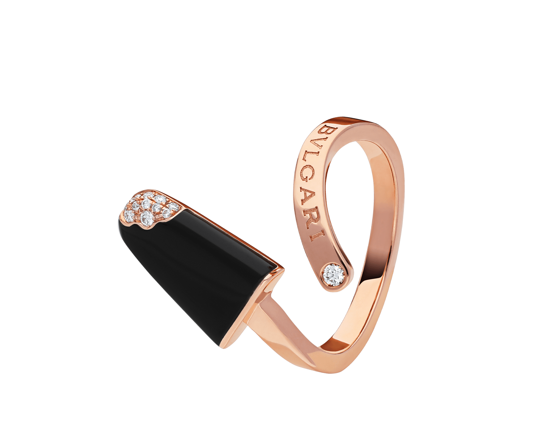 BVLGARI BVLGARI Gelati 18 kt rose gold ring set with onyx and pavé diamonds AN858499 image 2