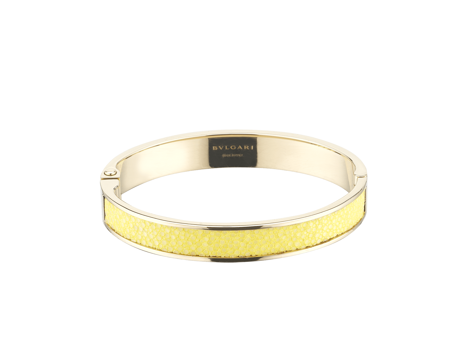 """BVLGARI BVLGARI"" new bangle bracelet in light gold with a Daisy Topaz yellow galuchat skin insert and a hinge featuring the BVLGARI logo. Engraved logo on the inside. HINGEBBBRACLT-MK-DT image 1"