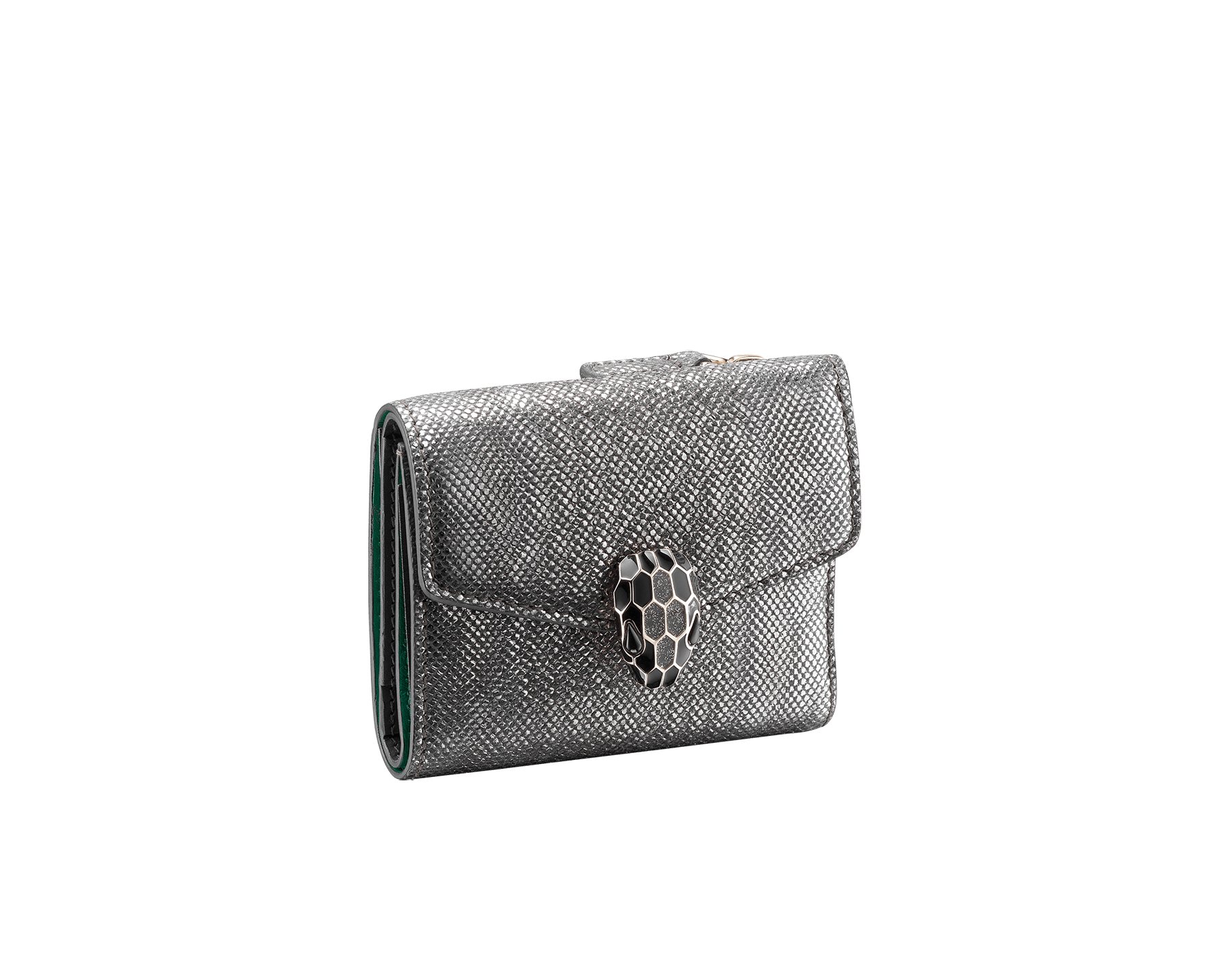 """Serpenti Forever"" slim compact wallet in mint metallic karung skin and black calf leather. Iconic light gold plated brass snakehead stud closure in black and white agate enamel, with black onyx eyes. SEA-SLIMCOMPACT-MK image 1"