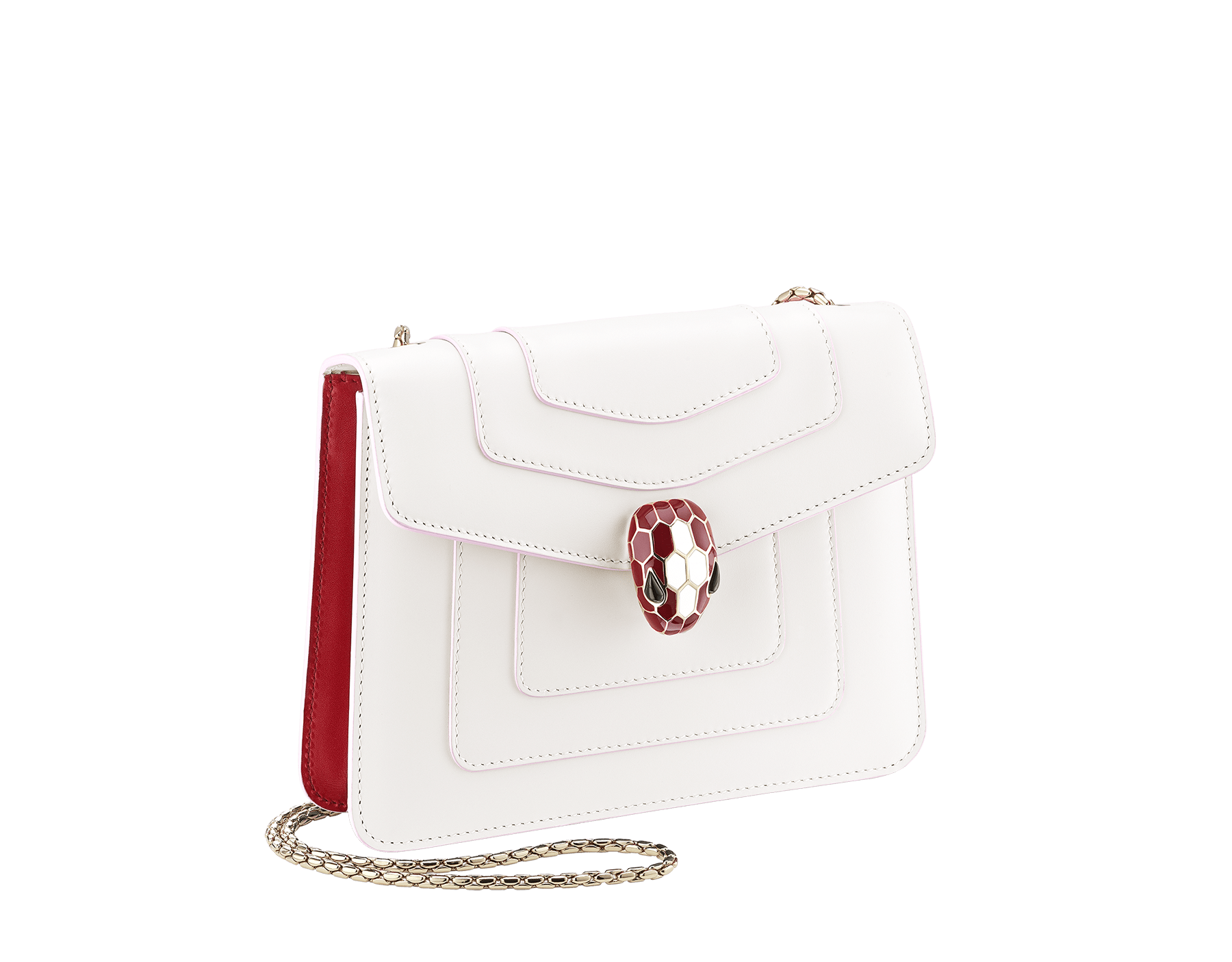 """Serpenti Forever"" crossbody bag in white agate calf leather body and ruby red calf leather sides. Iconic snakehead closure in light gold plated brass enriched with ruby red and white agate enamel and black onyx eyes. 289198 image 2"