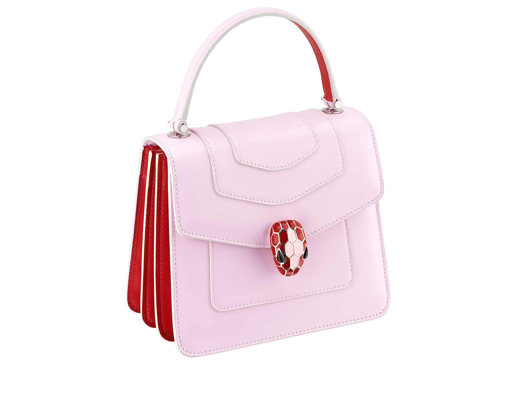 """Serpenti Forever "" crossbody bag in rosa di francia calf leather body and carmine jasper calf leather sides. Iconic snakehead closure in light gold plated brass enriched with carmine jasper and rosa di francia enamel and black onyx eyes. 289221 image 2"