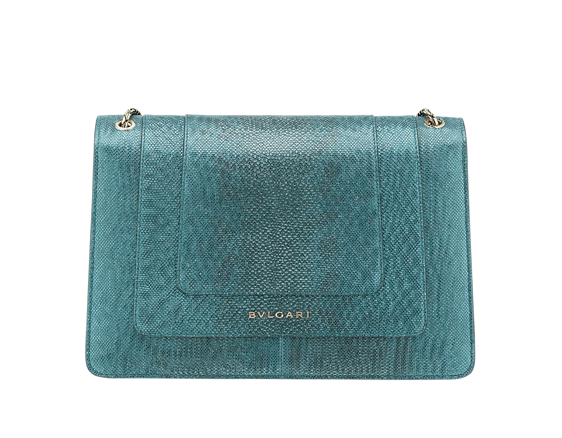"""""""Serpenti Forever"""" shoulder bag in deep jade metallic karung skin. Iconic snakehead closure in light gold plated brass enriched with black and glitter deep jade enamel and black onyx eyes. 287940 image 3"""