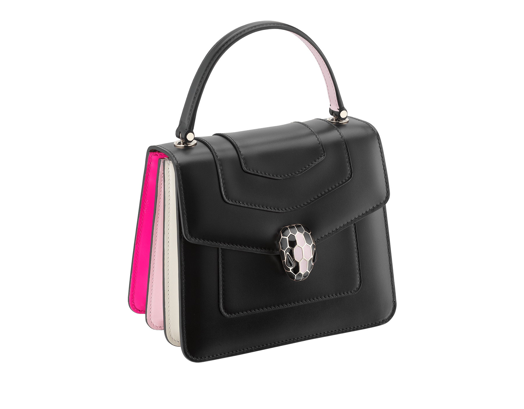 """""""Serpenti Forever """" crossbody bag in white calf leather body and white agate and crystal rose calf leather sides. Iconic snakehead closure in light gold plated brass enriched with white and crystal rose enamel and black onyx eyes. 752-MCLa image 2"""