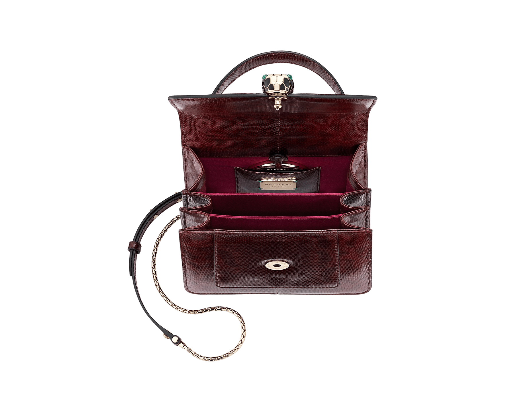 Flap cover bag Serpenti Forever in roman garnet shiny karung skin. Brass light gold plated hardware and tempting snake head closure in shiny black and white enamel, with eyes in green malachite. 286198 image 4