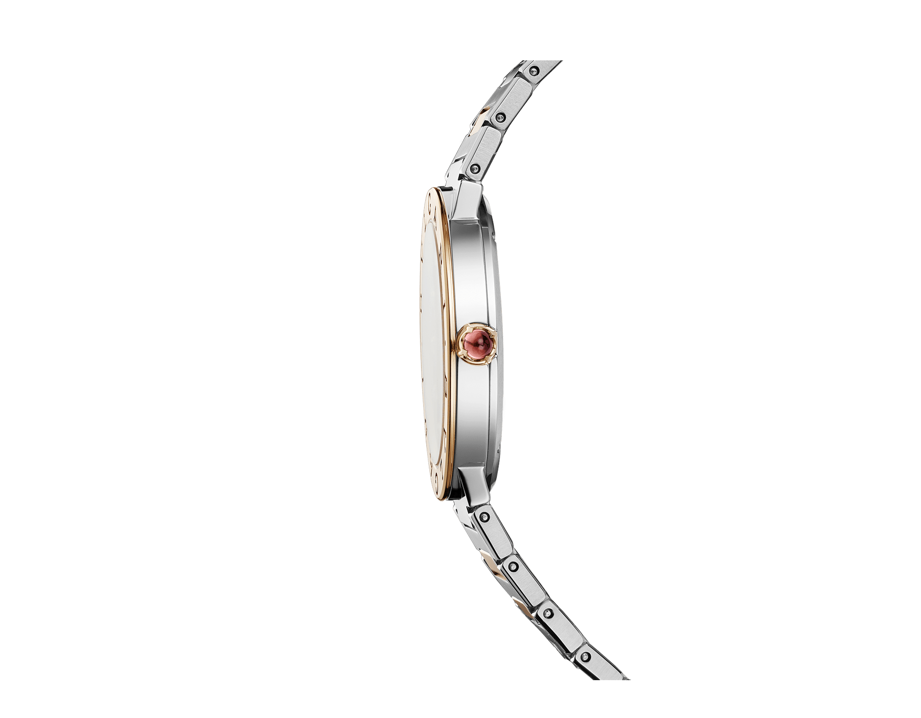 BVLGARI BVLGARI LADY watch with stainless steel case, 18 kt rose gold bezel engraved with double logo, gray lacquered dial, diamond indexes, and stainless steel and 18 kt rose gold bracelet. 103067 image 3