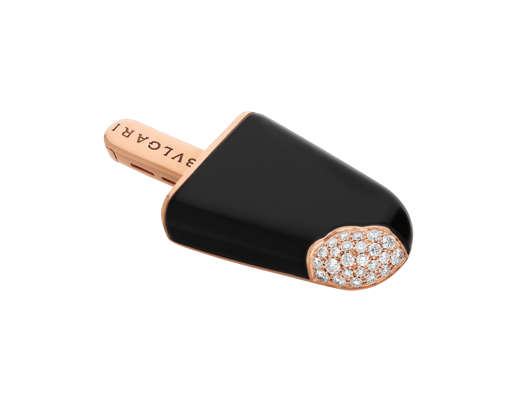 BVLGARI BVLGARI Gelati 18 kt rose gold brooch set with onyx and pavé diamonds 354745 image 2