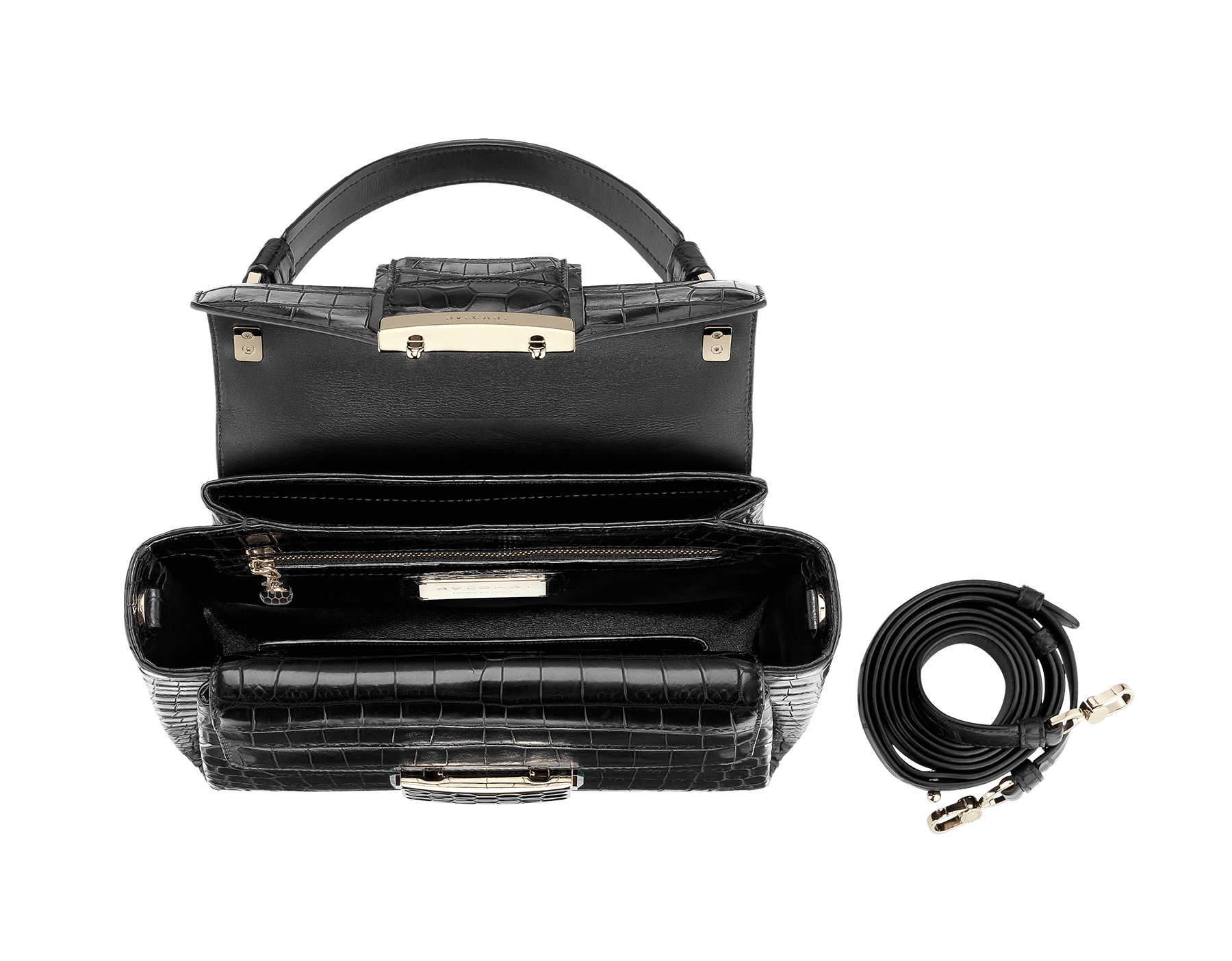 Top handle bag Serpenti Viper in black matt crocodile skin. Brass light gold plated hardware and snap closure in black shiny enamel with iconic Scaglie design. 284486 image 2