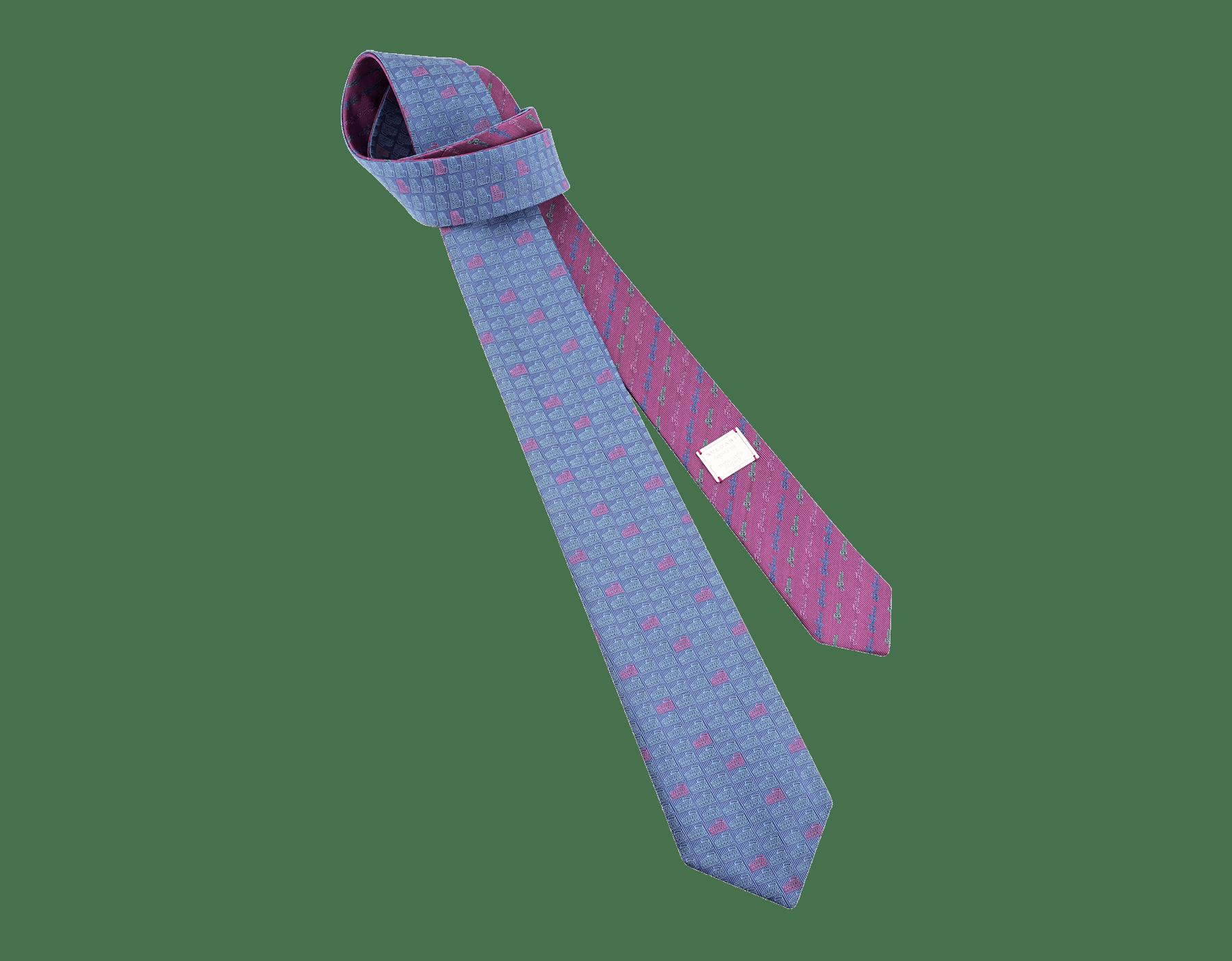 Gravata azul com padrão Double Roma em fina seda. 243729 image 1