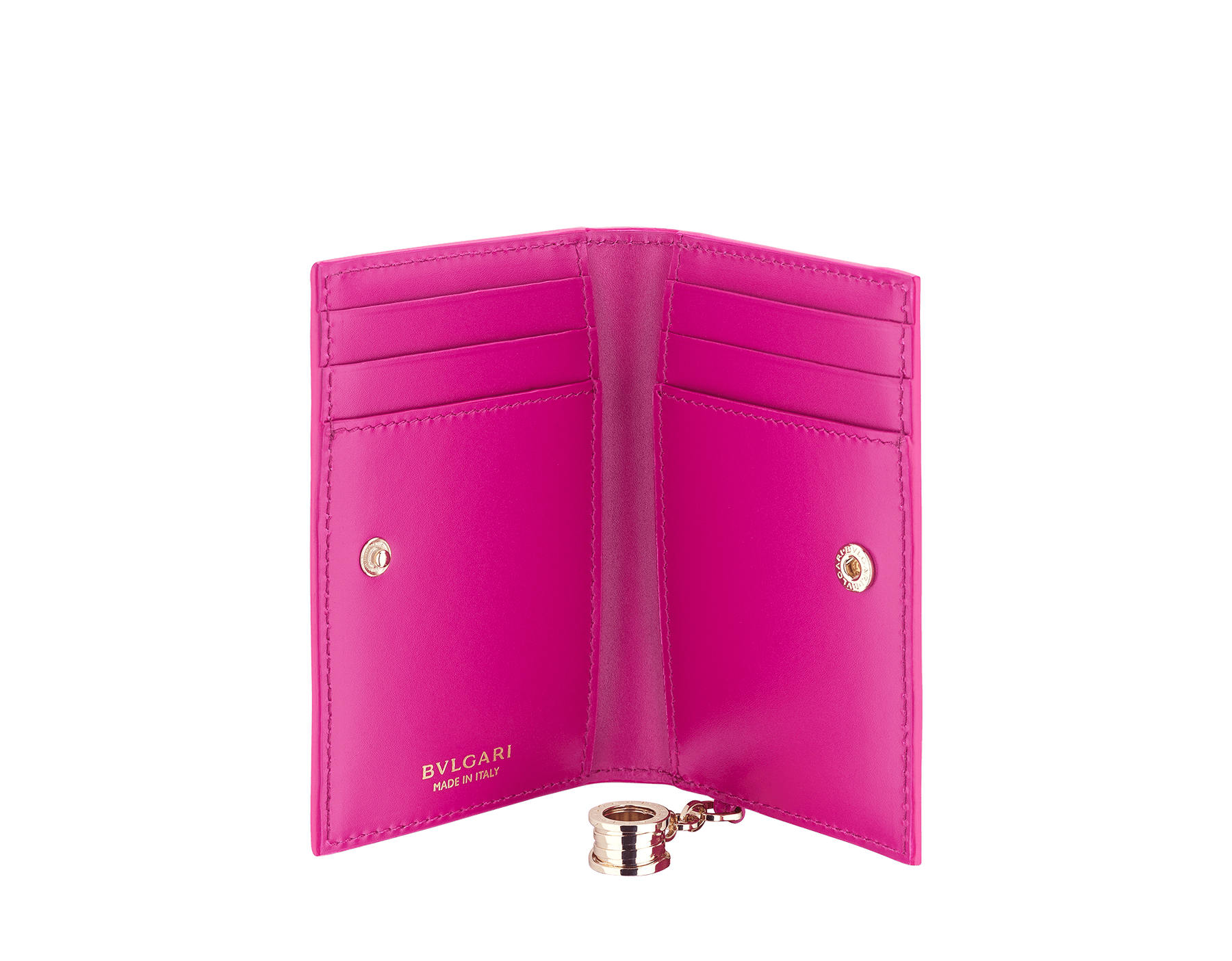 """B.zero1"" folded card holder in white agate and berry tourmaline goatskin and berry tourmaline calf leather. Iconic B.zero1 charm in light gold-plated brass. 289779 image 2"