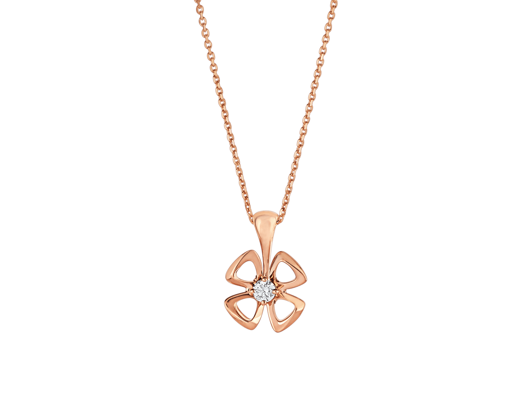 Fiorever 18 kt rose gold necklace set with a central diamond (0.10 ct) 355324 image 1