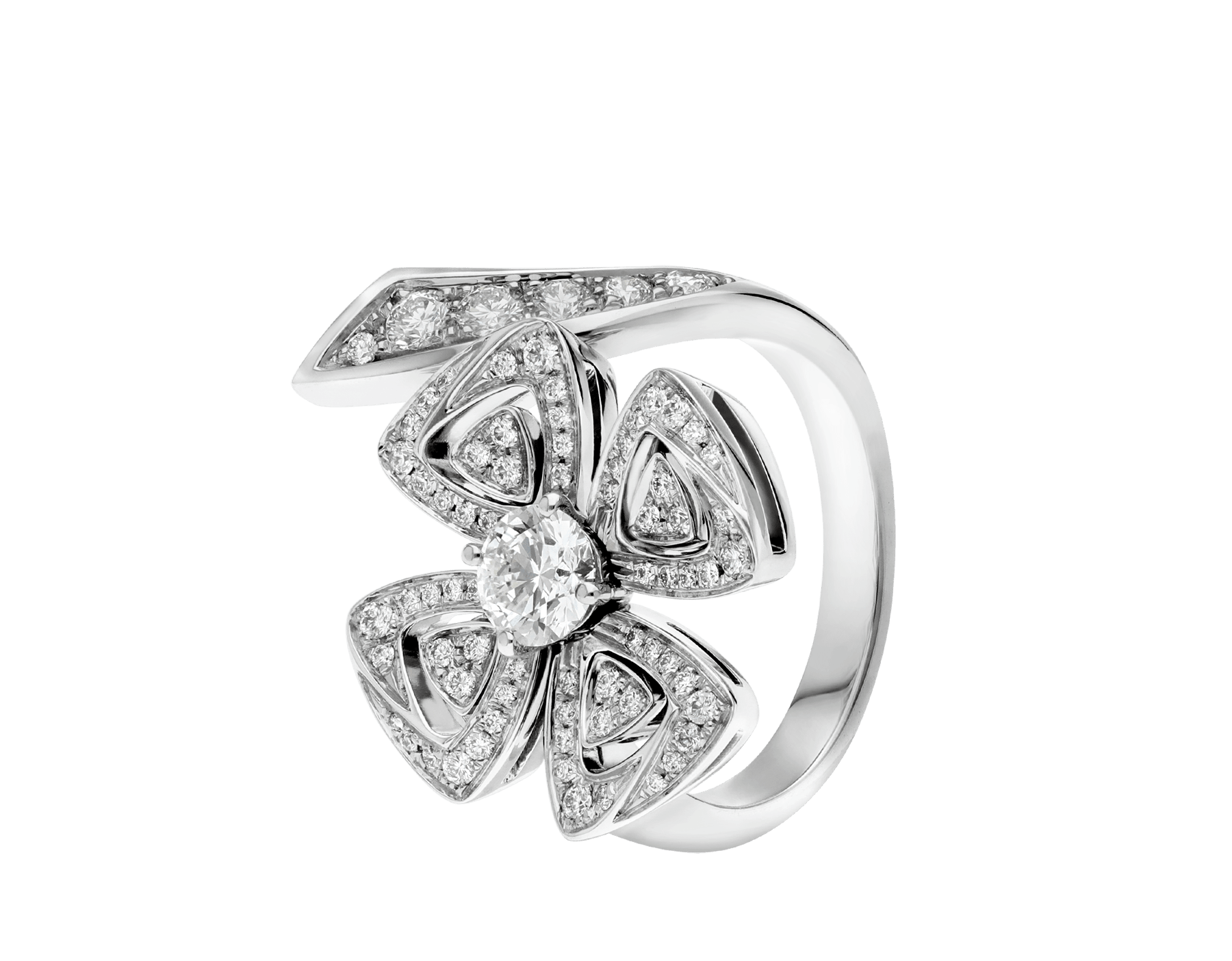 Fiorever 18 kt white gold ring set with a central round brilliant-cut diamond and pavé diamonds. AN858691 image 1