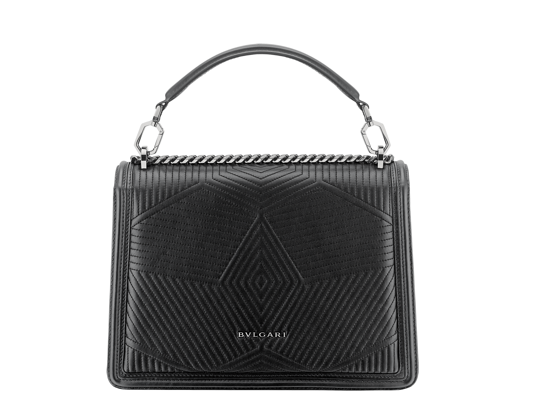 """Serpenti Diamond Blast"" shoulder bag in black quilted nappa leather body and black calf leather frames. Iconic snakehead closure in dark ruthenium plated brass enriched with black and white enamel and black onyx eyes. 973-FQDa image 3"