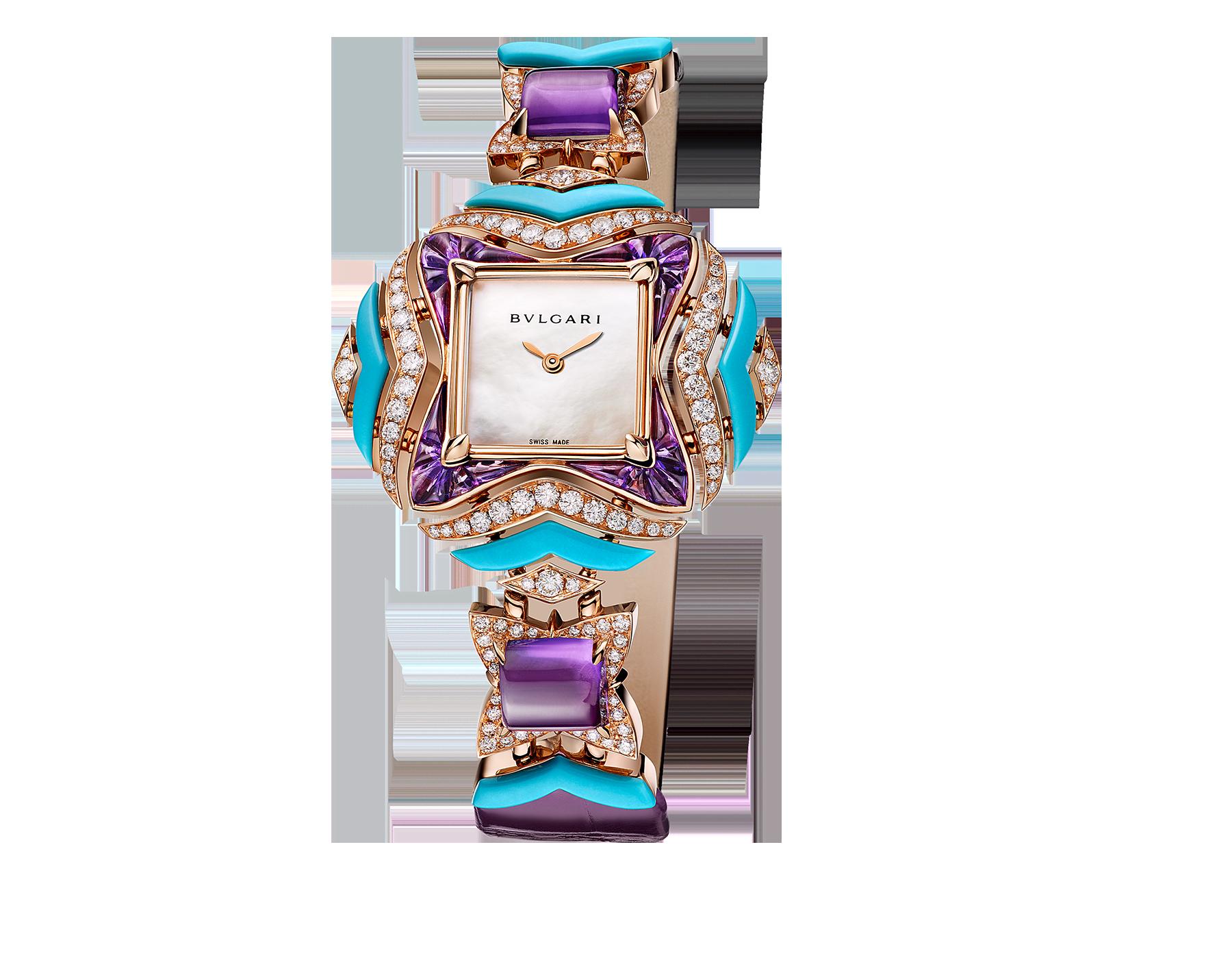 Montre MVSA avec boîtier et maillons en or rose 18K sertis de diamants taille brillant, d'améthystes taille cabochon et suiffée et de turquoises, cadran en nacre blanche et bracelet en alligator violet 102246 image 1