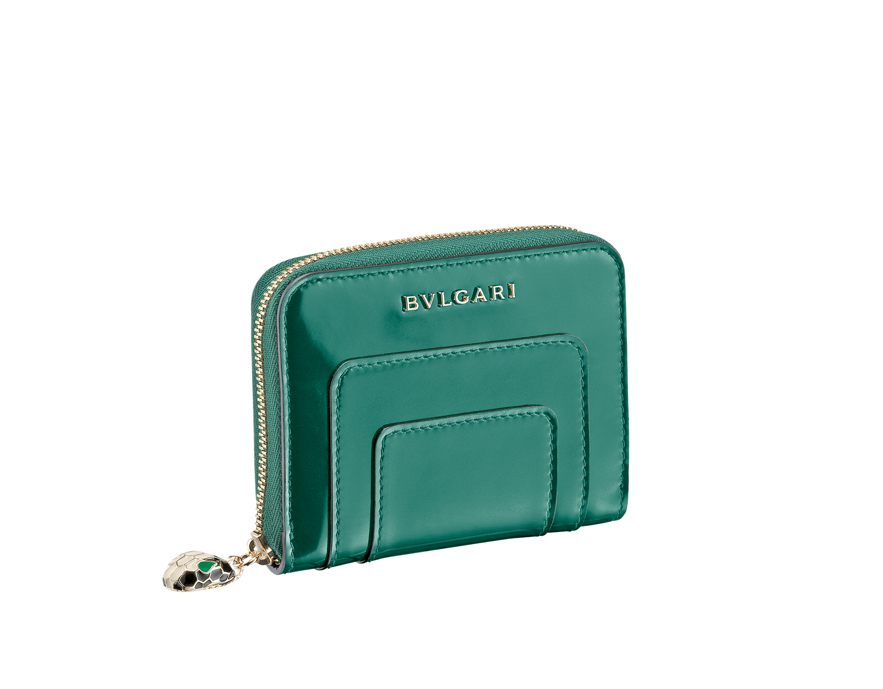 Mini zipped wallet in forest emerald brushed metallic and black calf leather, black nappa lining. Brass light gold plated hardware. Iconic black and white enamel Serpenti head zip puller with green enamel eyes. SEA-WLT-MINI-ZIP-BMCL image 1