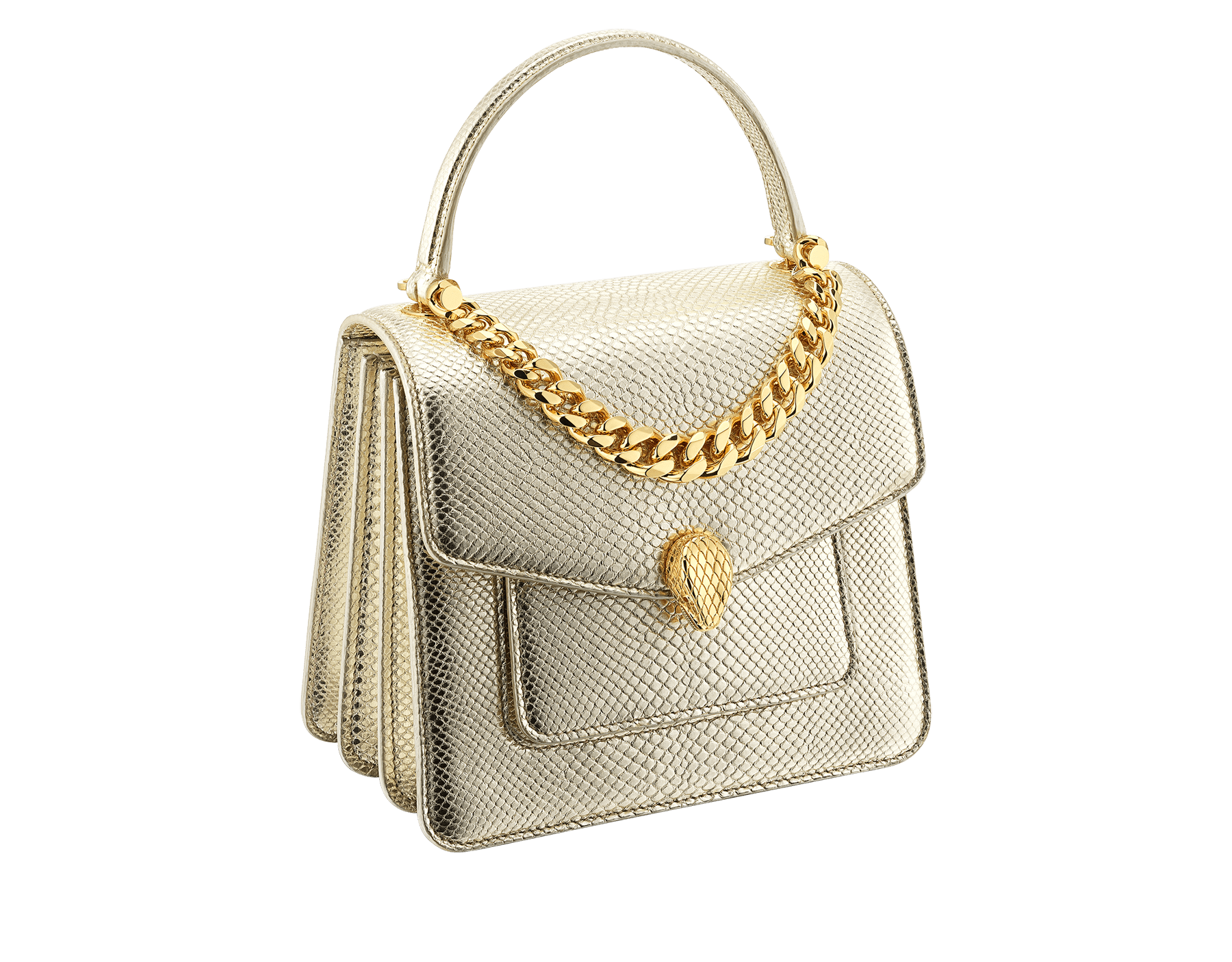 """Serpenti Forever"" small maxi chain top handle bag in peach nappa leather, with Lavander Amethyst lilac nappa leather internal lining. New Serpenti head closure in gold plated brass, finished with small pink mother-of-pearl scales in the middle and red enamel eyes. 1133-MCN image 2"