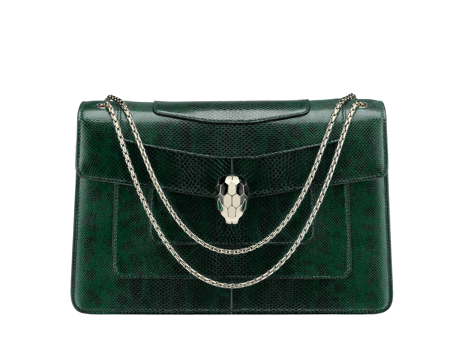 Flap cover bag Serpenti Forever in roman garnet shiny karung skin. Brass light gold plated tempting snake head closure in shiny black and white enamel, with eyes in green malachite. 521-SK image 1