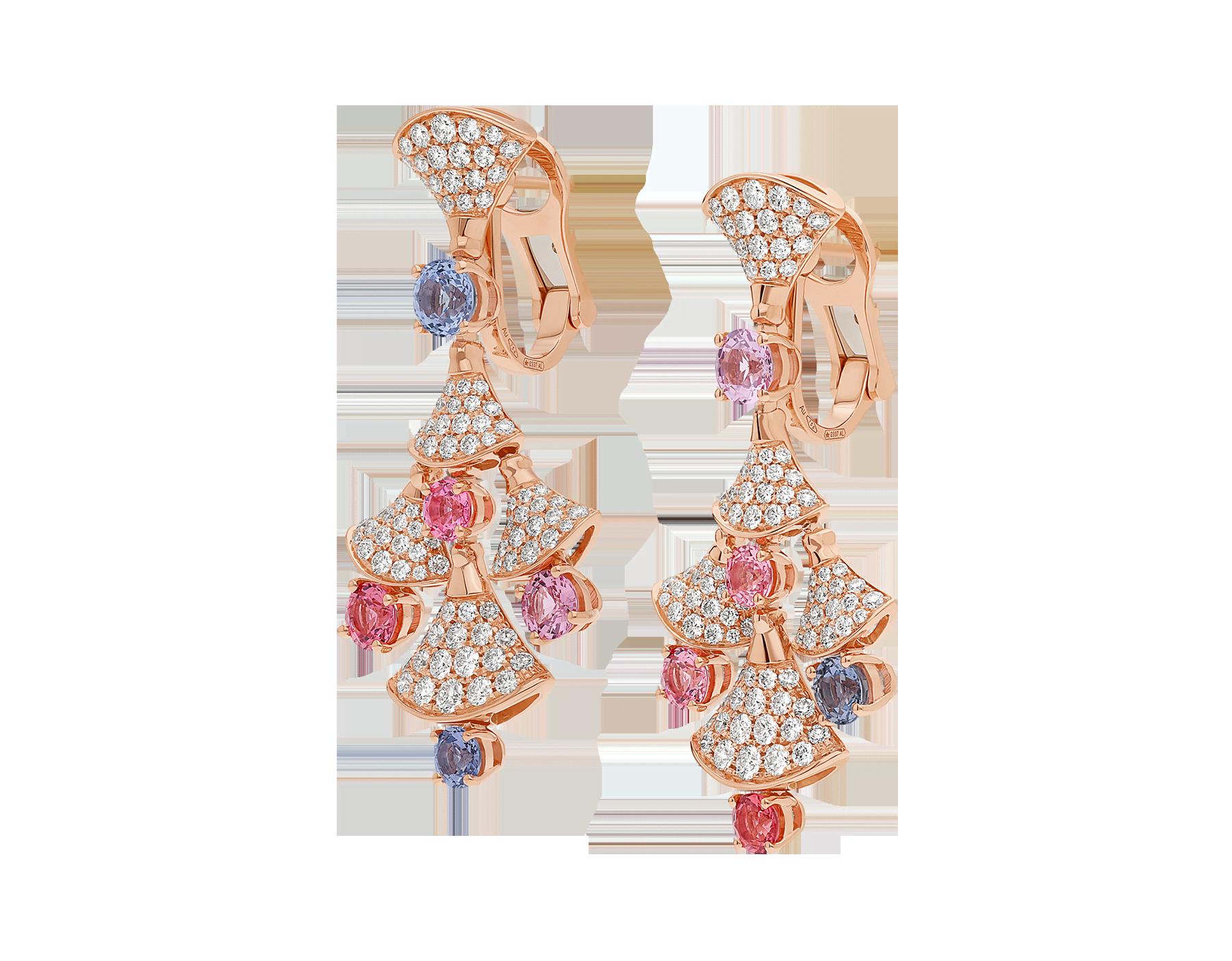 Серьги DIVAS' DREAM, розовое золото 18карат, шпинели классической огранки (3,81 карата), бриллиантовое паве (2,22 карата). 357943 image 2