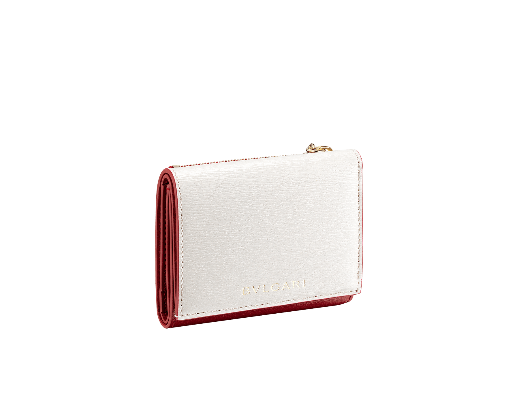 """B.zero1"" compact wallet in white agate and ruby red goatskin and ruby red calf leather. Iconic B.zero1 zipper in light gold plated brass and two press-stud closures. BZA-SLIMCOMPACTa image 1"