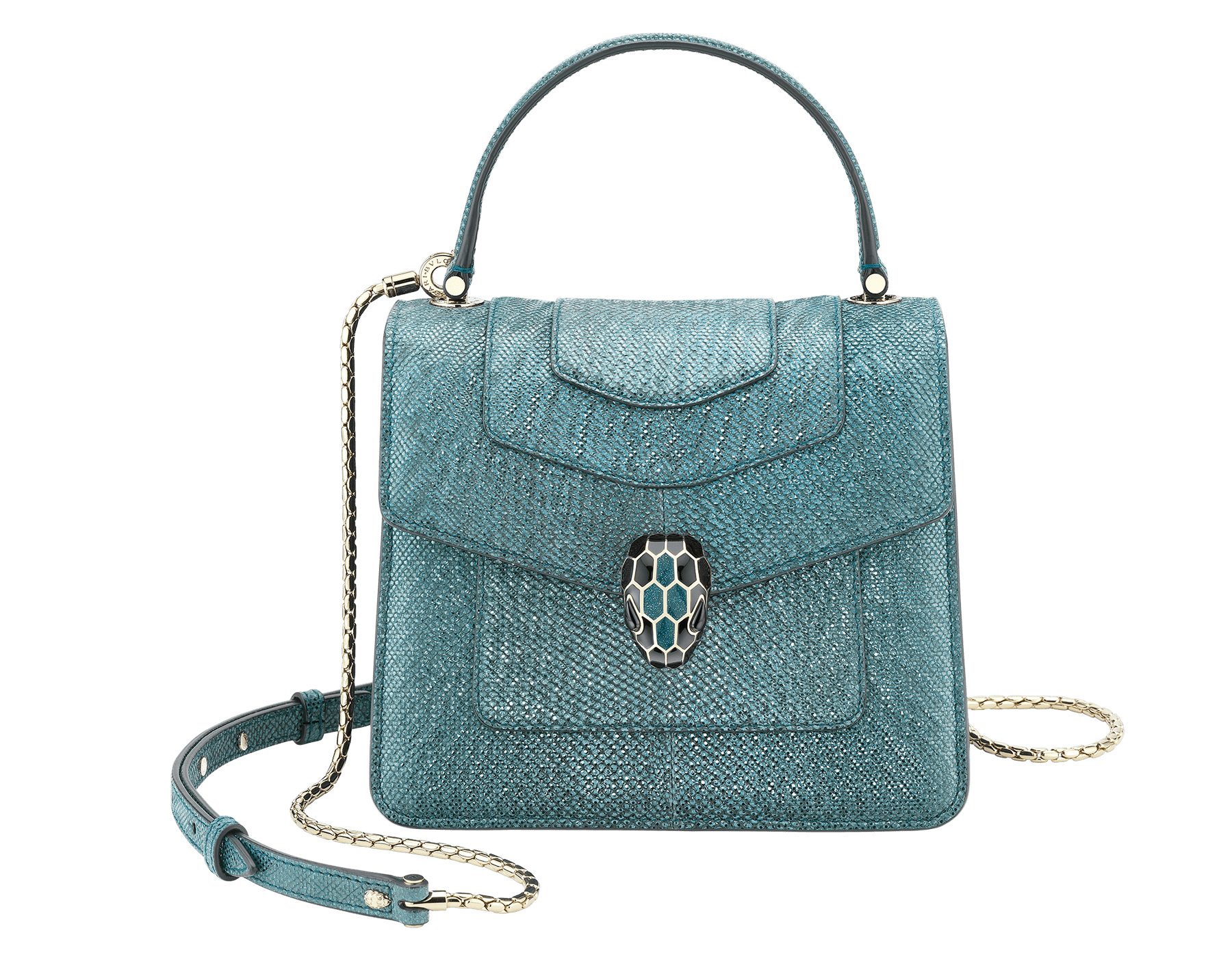 """Serpenti Forever"" crossbody bag in deep jade metallic karung skin. Iconic snakehead closure in light gold plated brass enriched with black and glitter deep jade enamel and black onyx eyes. 287946 image 1"